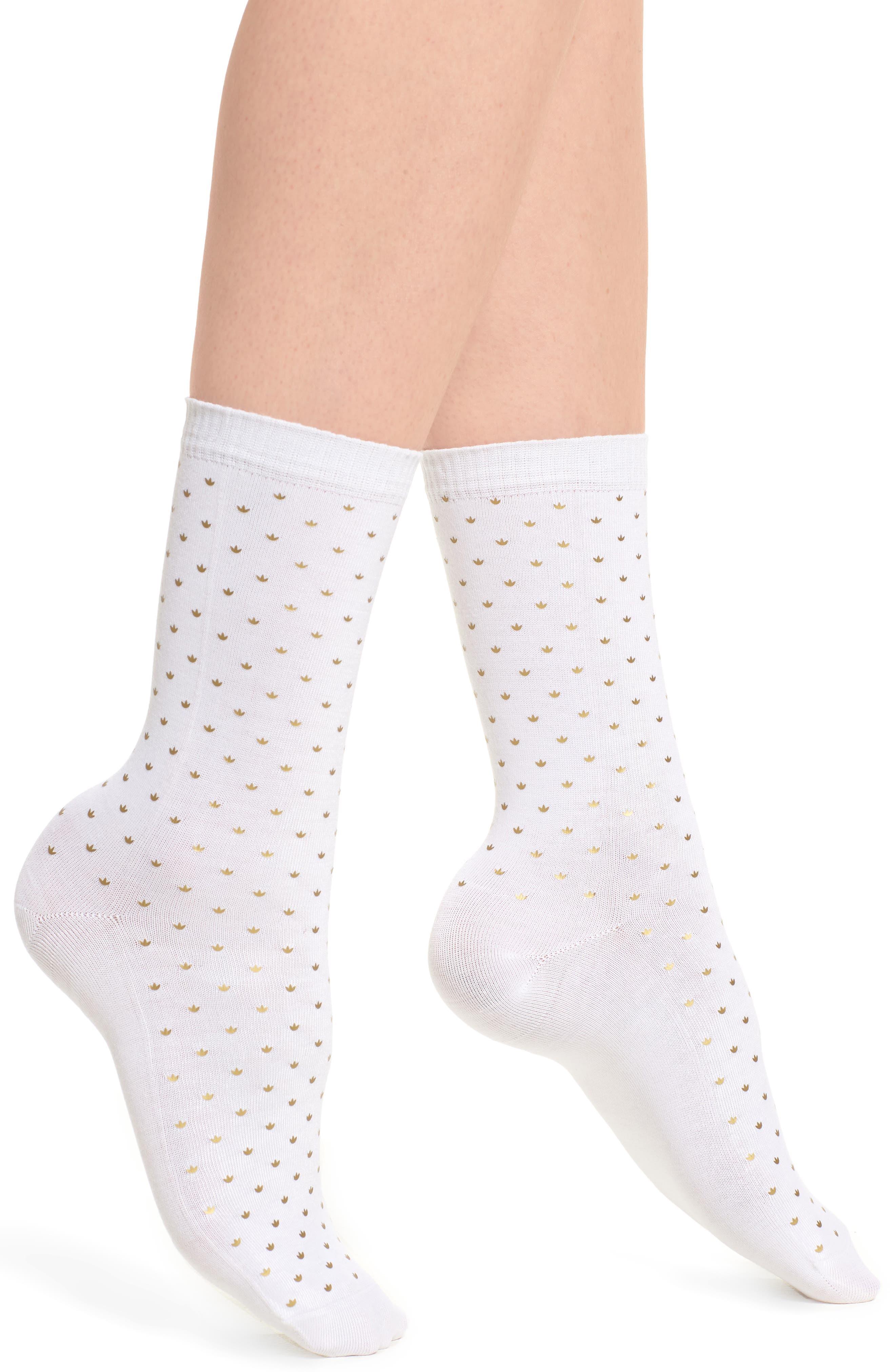 Mini Trefoil Crew Socks,                         Main,                         color, White/ Gold