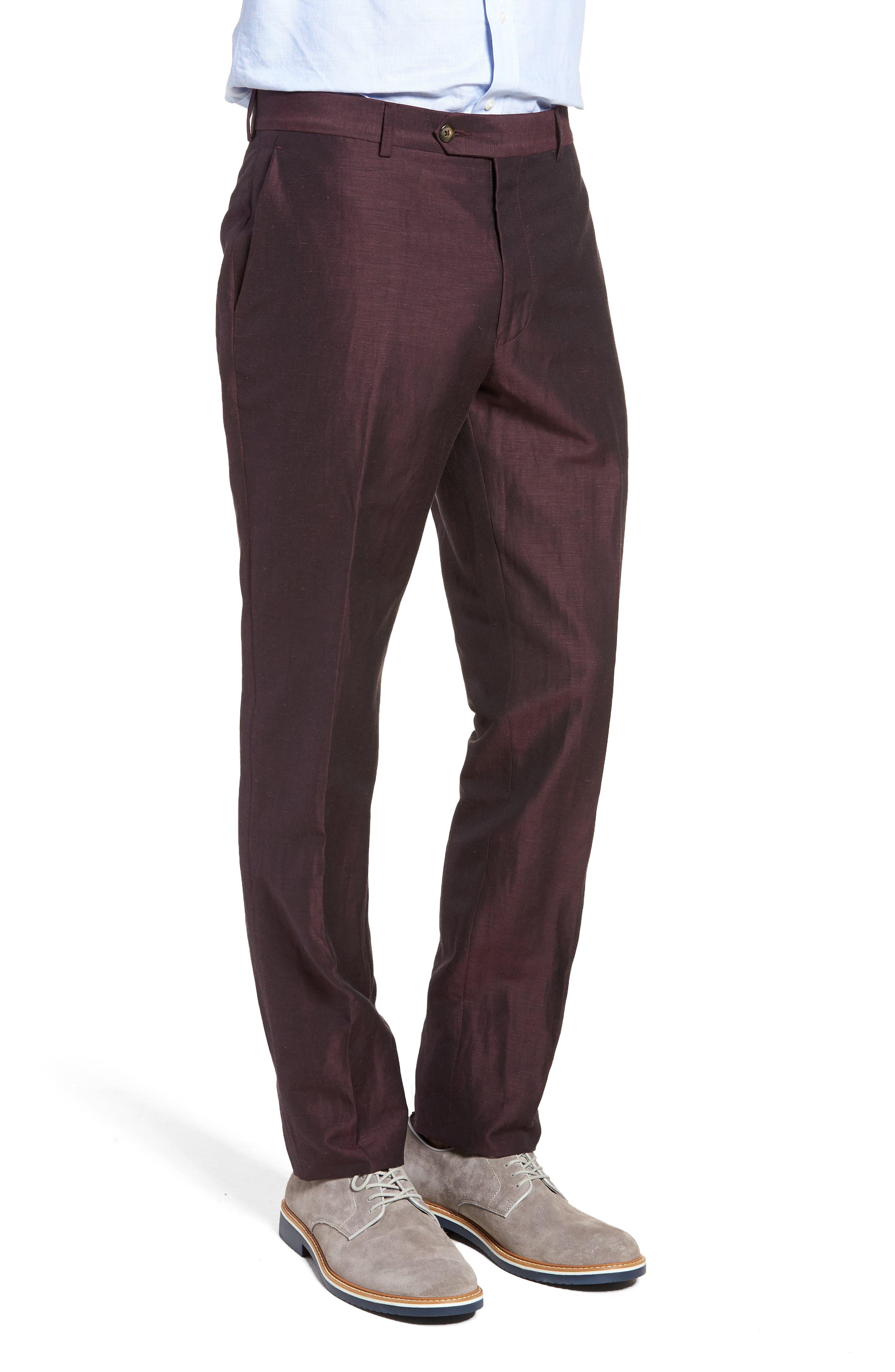 Dagger Flat Front Solid Wool & Linen Trousers,                             Alternate thumbnail 3, color,                             Plum