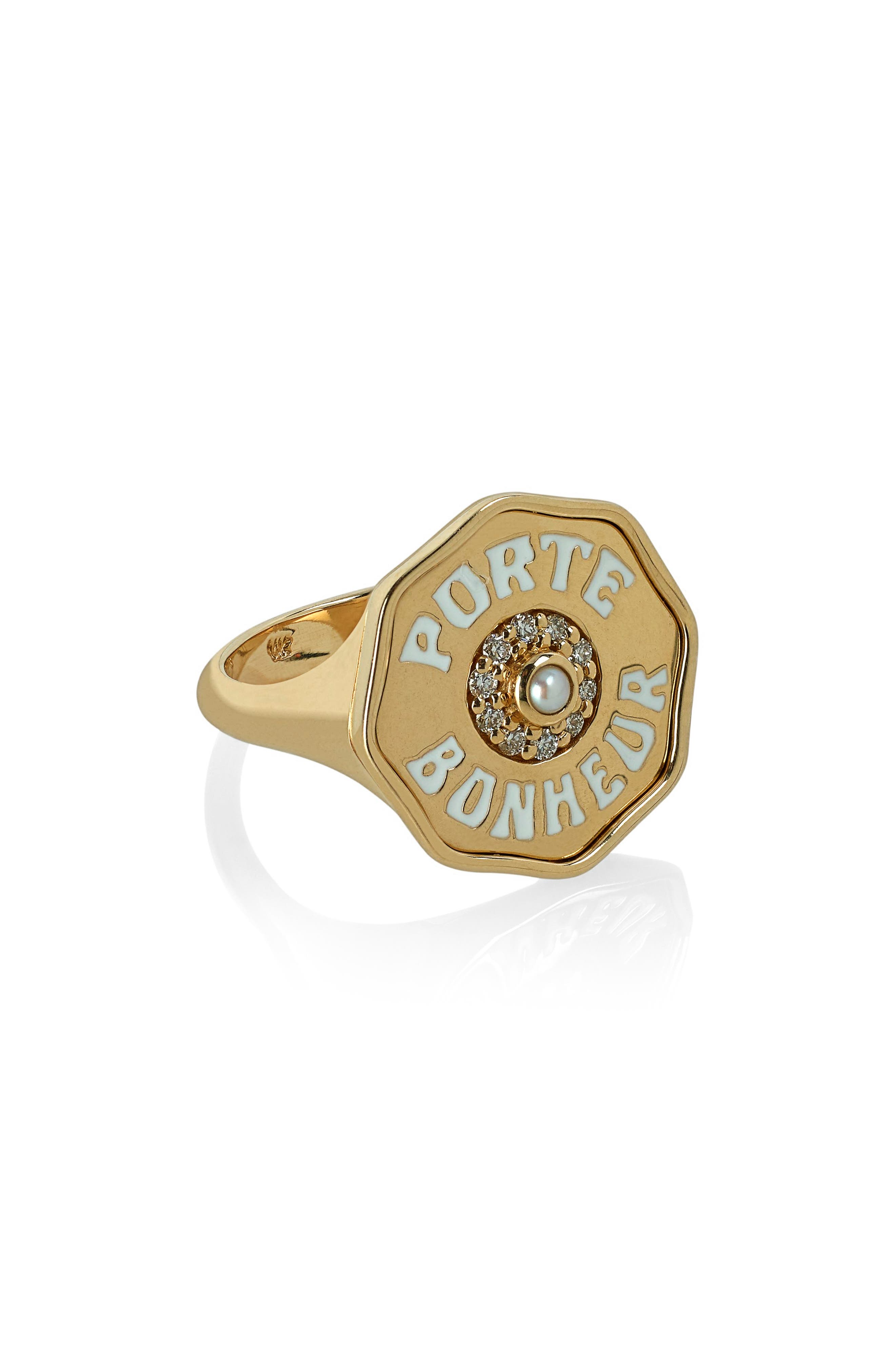 Porte Bonhuer Coin Ring,                             Main thumbnail 1, color,                             Yellow Gold