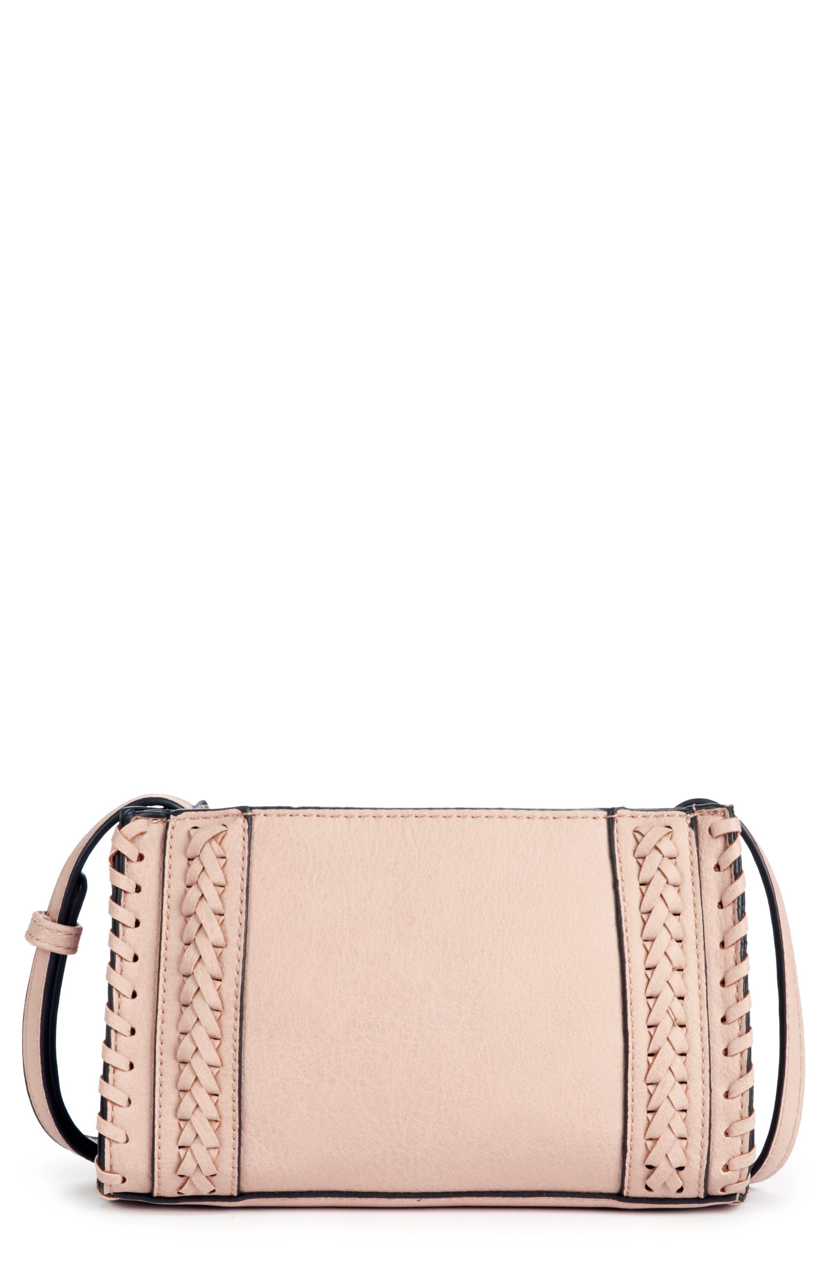 Destin Faux Leather Crossbody Bag,                             Main thumbnail 1, color,                             Blush