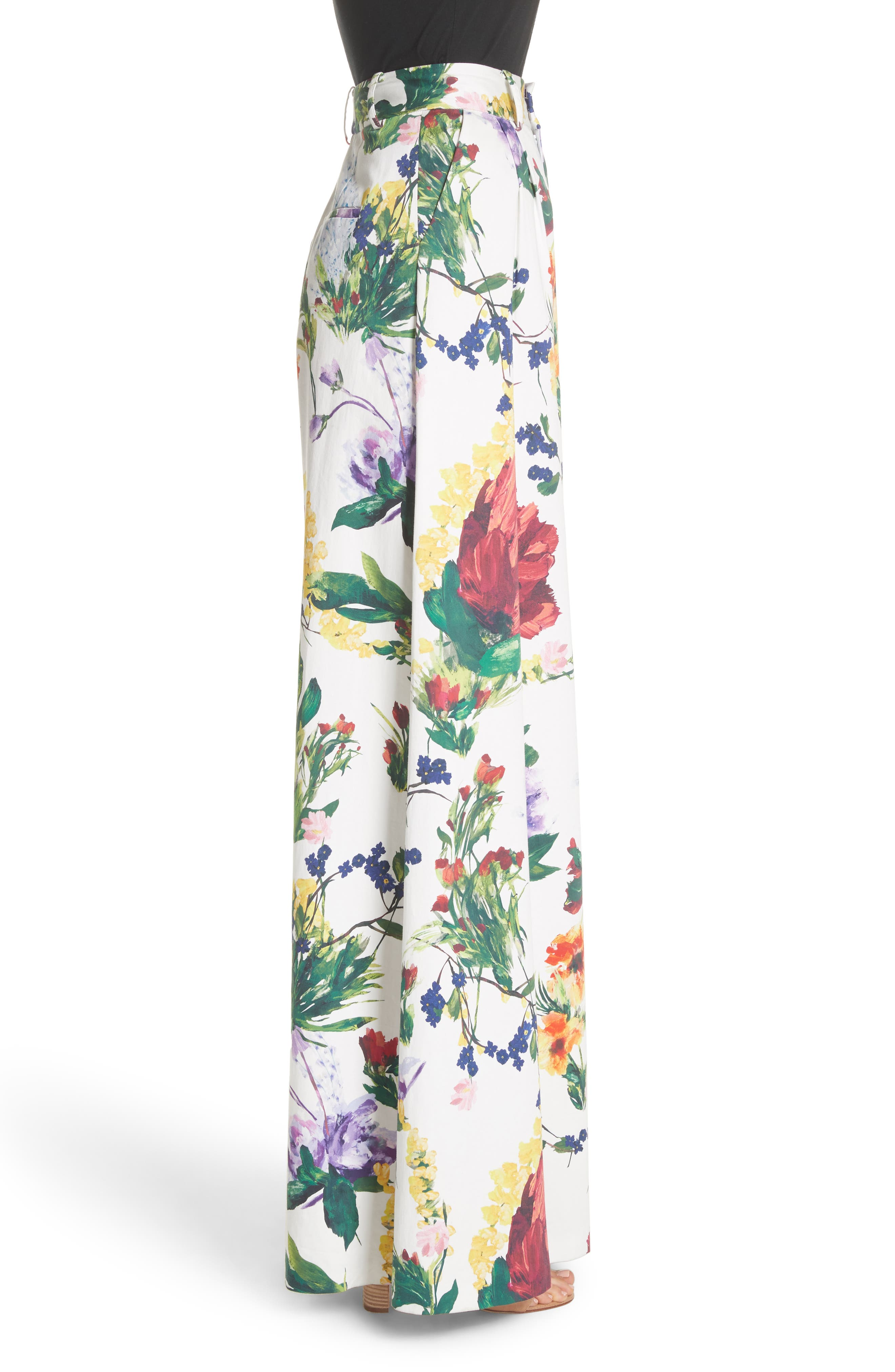 Dustin Floral Flared Pants,                             Alternate thumbnail 3, color,                             Wildflower