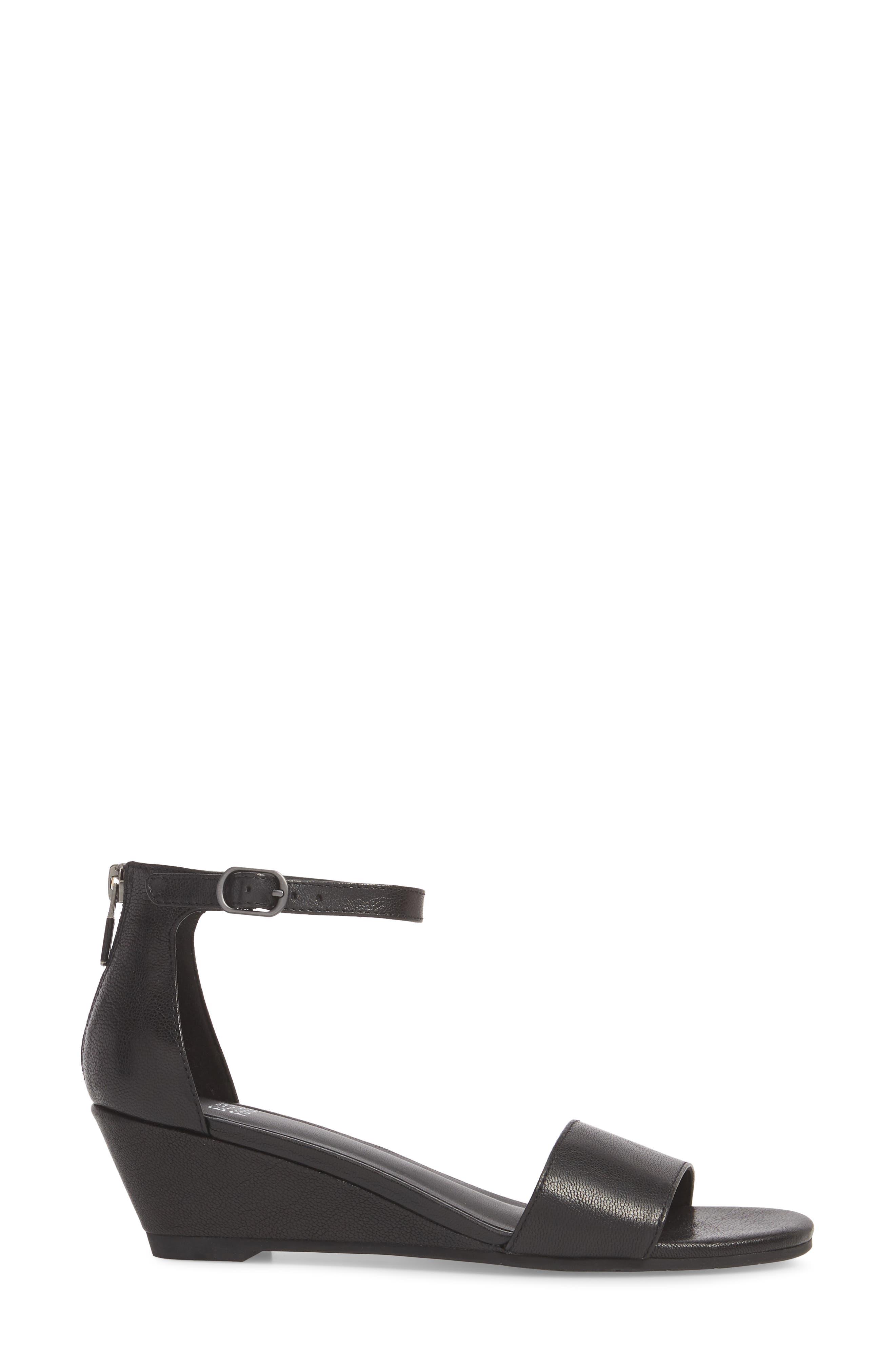 Mara Ankle Strap Wedge Sandal,                             Alternate thumbnail 3, color,                             Black Leather