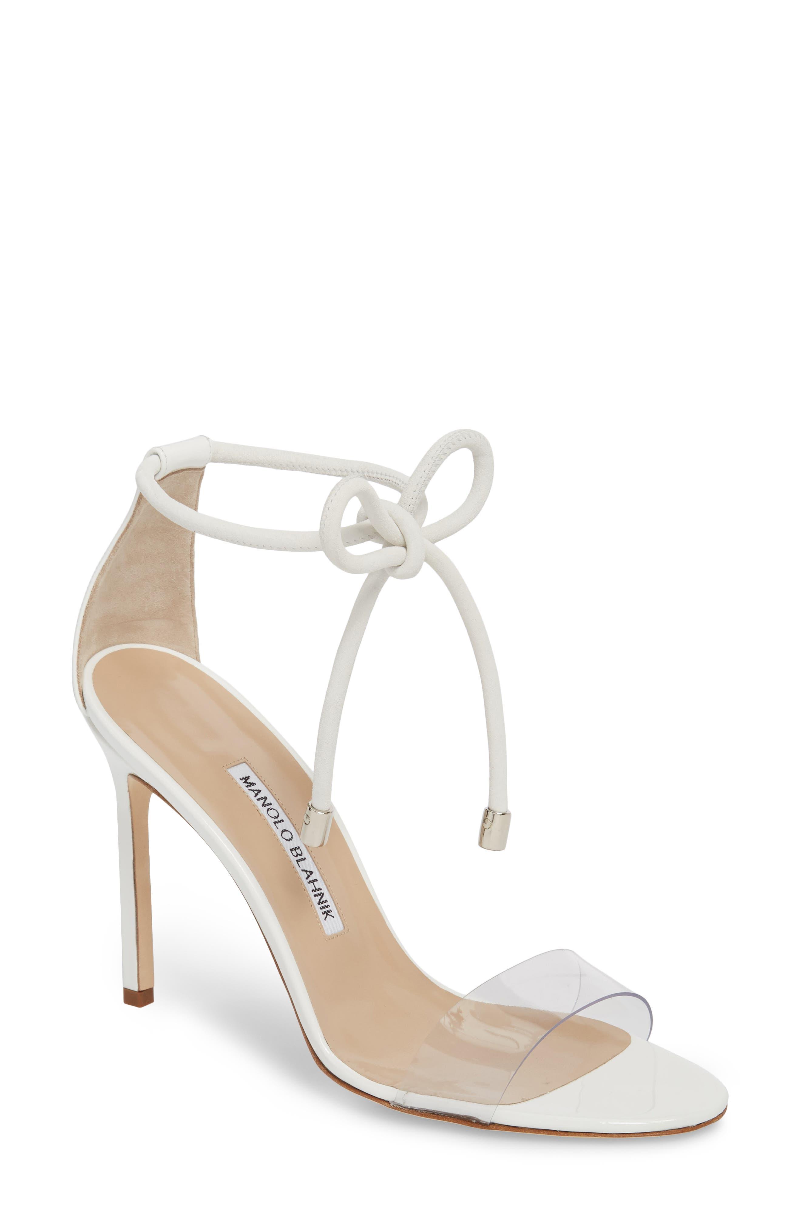 Estro Ankle Tie Sandal,                         Main,                         color, White Patent