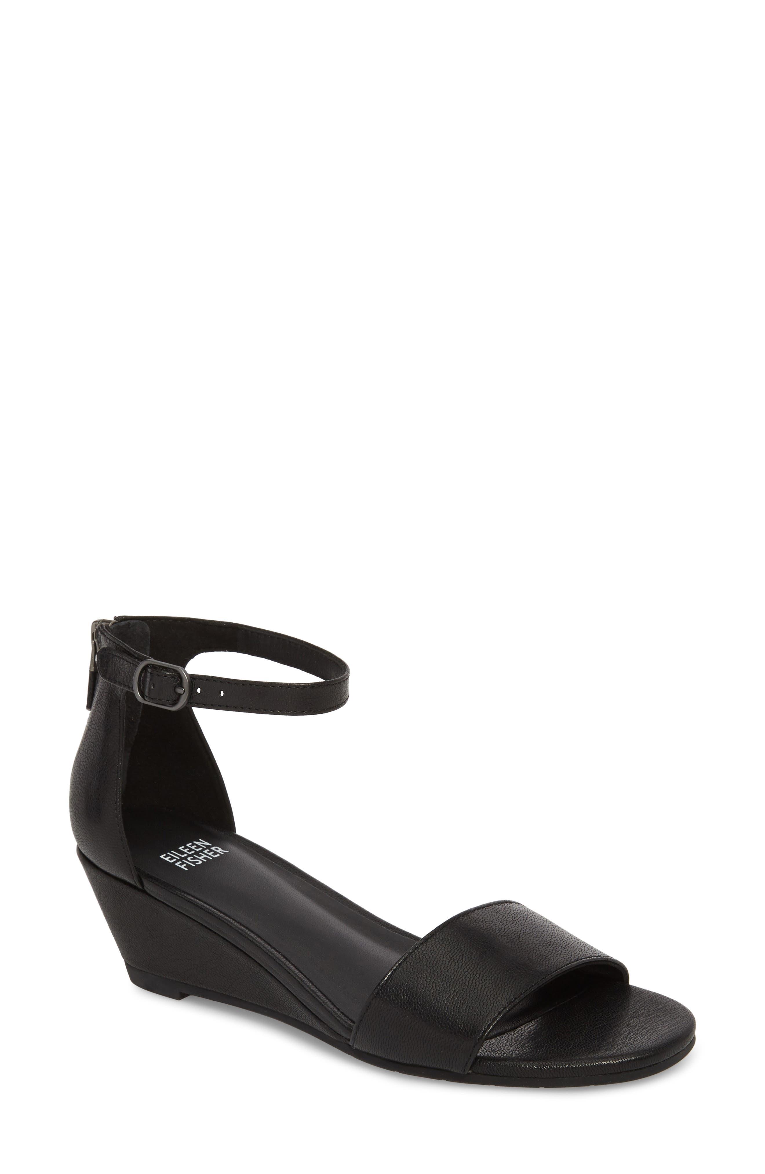 Mara Ankle Strap Wedge Sandal,                             Main thumbnail 1, color,                             Black Leather