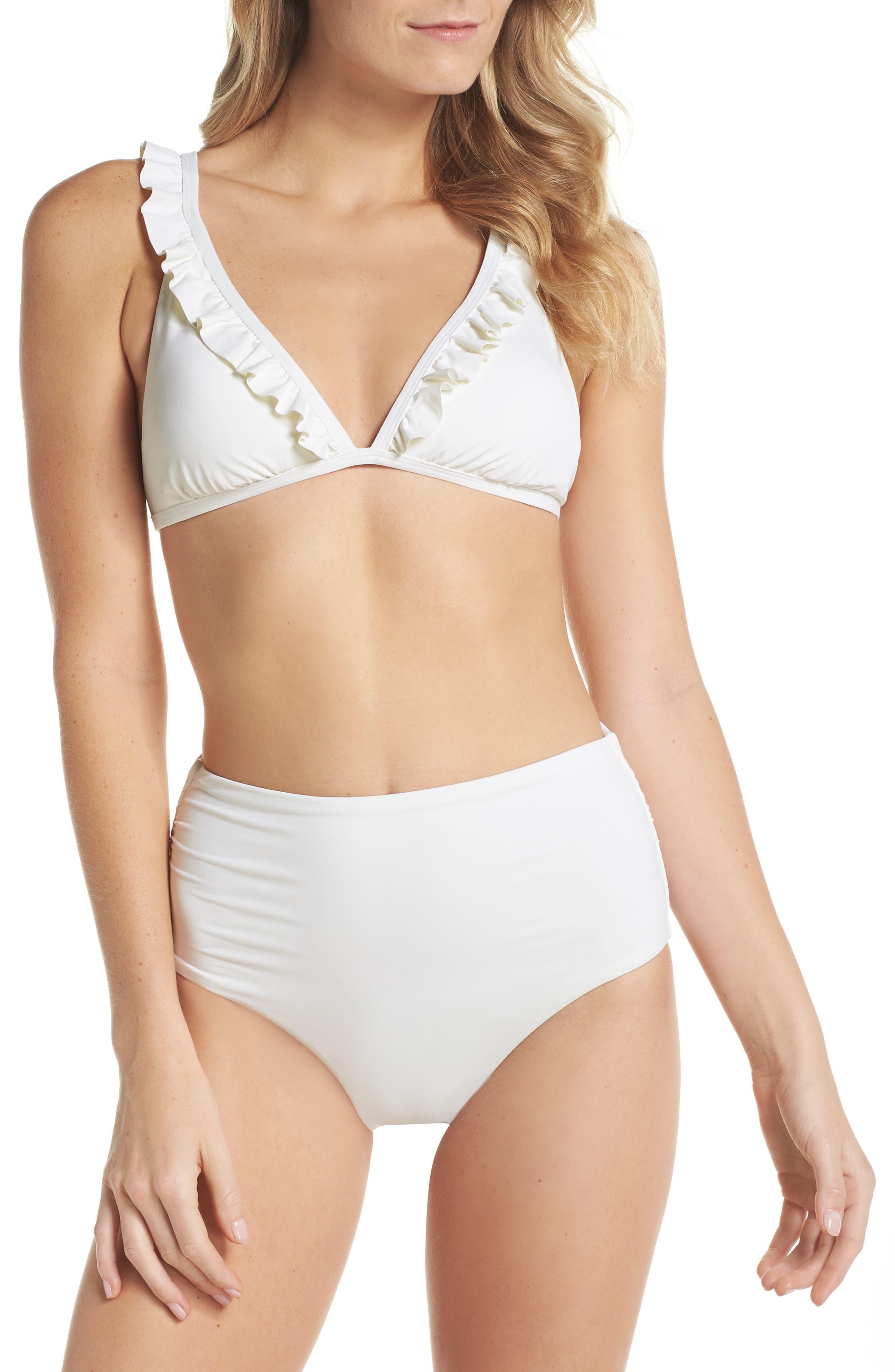 Ruffle Halter Bikini Top,                             Alternate thumbnail 5, color,                             Ivory Egret