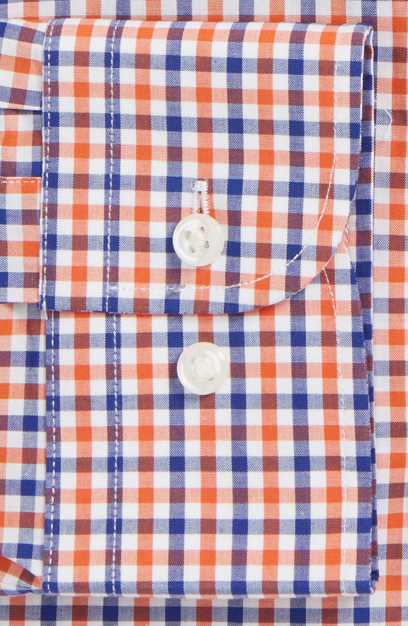 Trim Fit Check Dress Shirt,                             Alternate thumbnail 5, color,                             Orange Rust