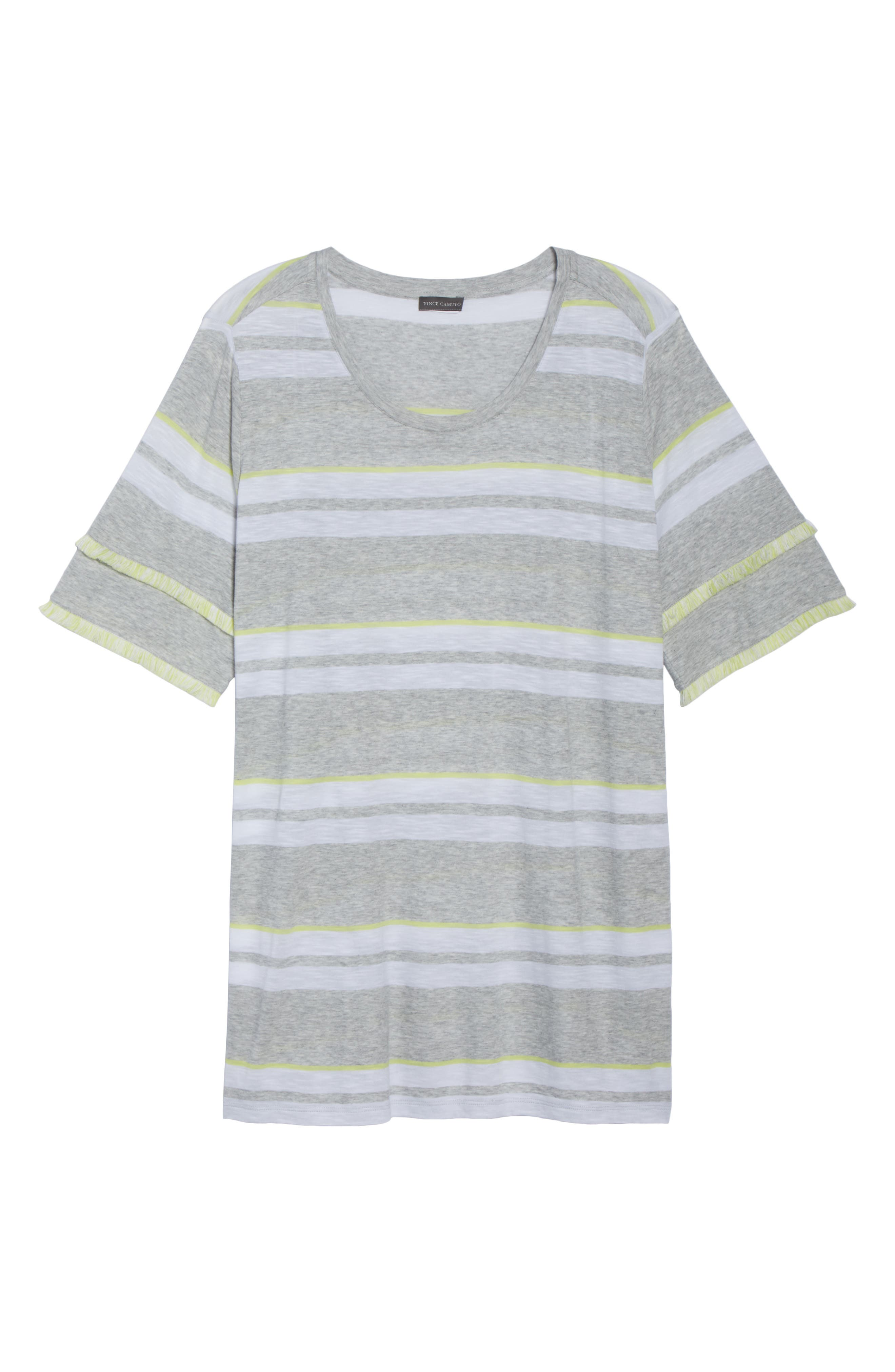 Fringe Sleeve Stadium Stripe Top,                             Alternate thumbnail 7, color,                             Grey Heather