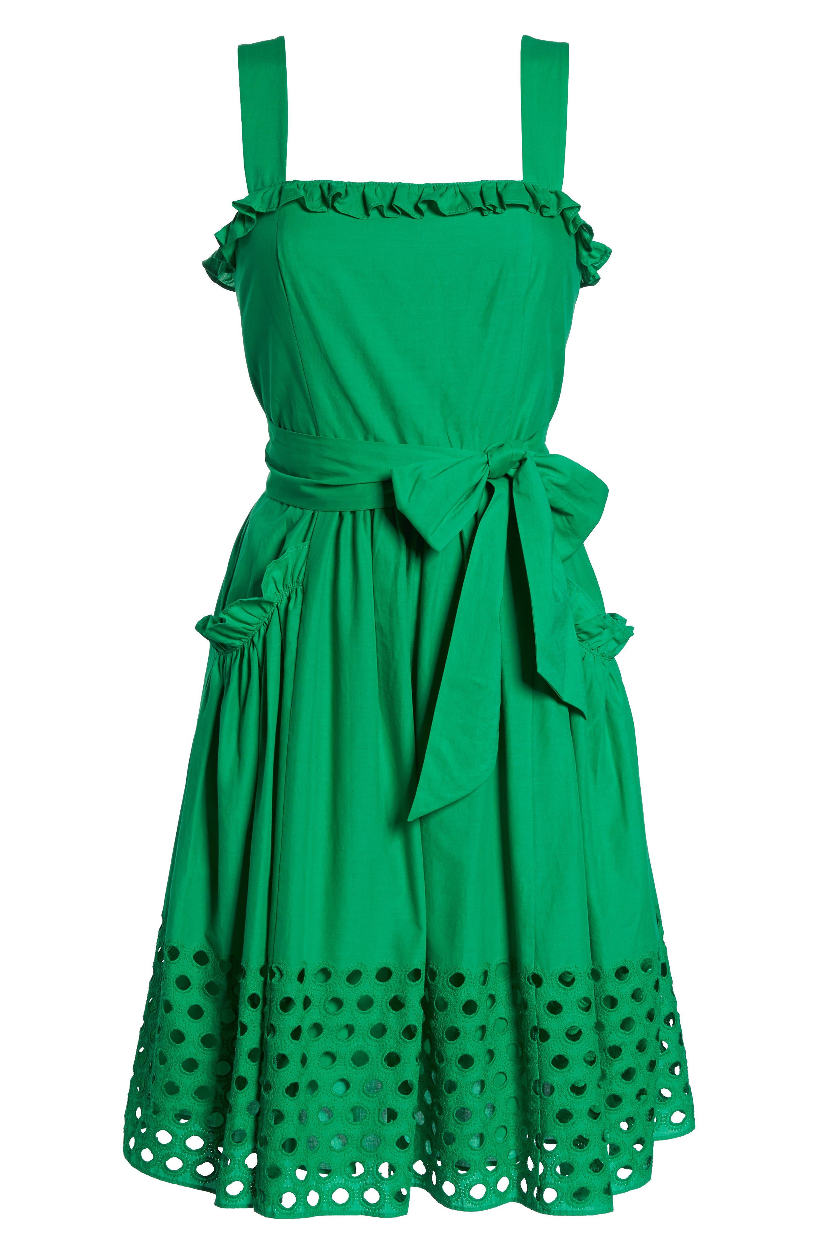 Eyelet Hem Fit & Flare Sundress,                             Alternate thumbnail 7, color,                             Green