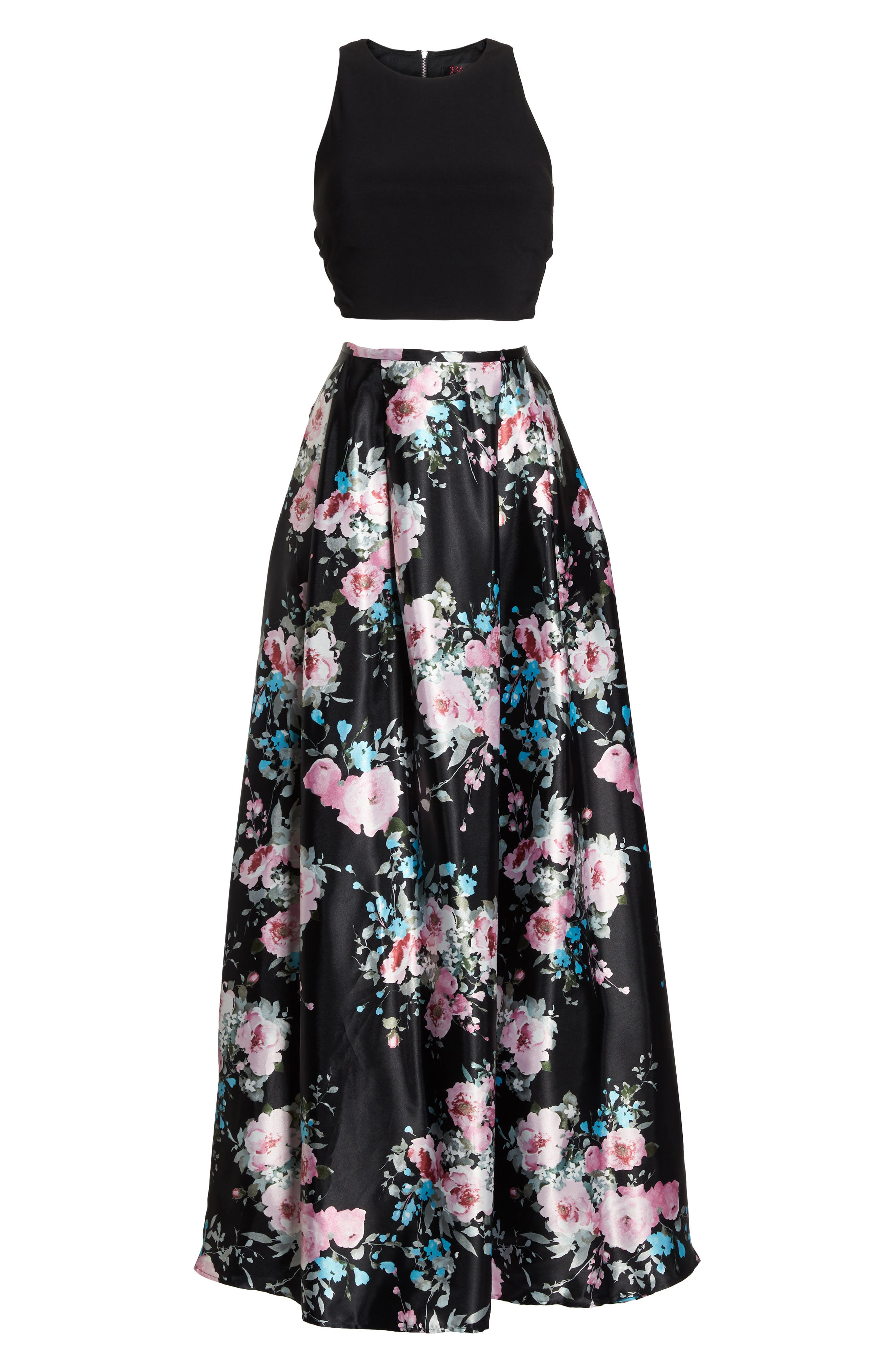 Two-Piece Ballgown,                             Alternate thumbnail 6, color,                             Black/ Floral