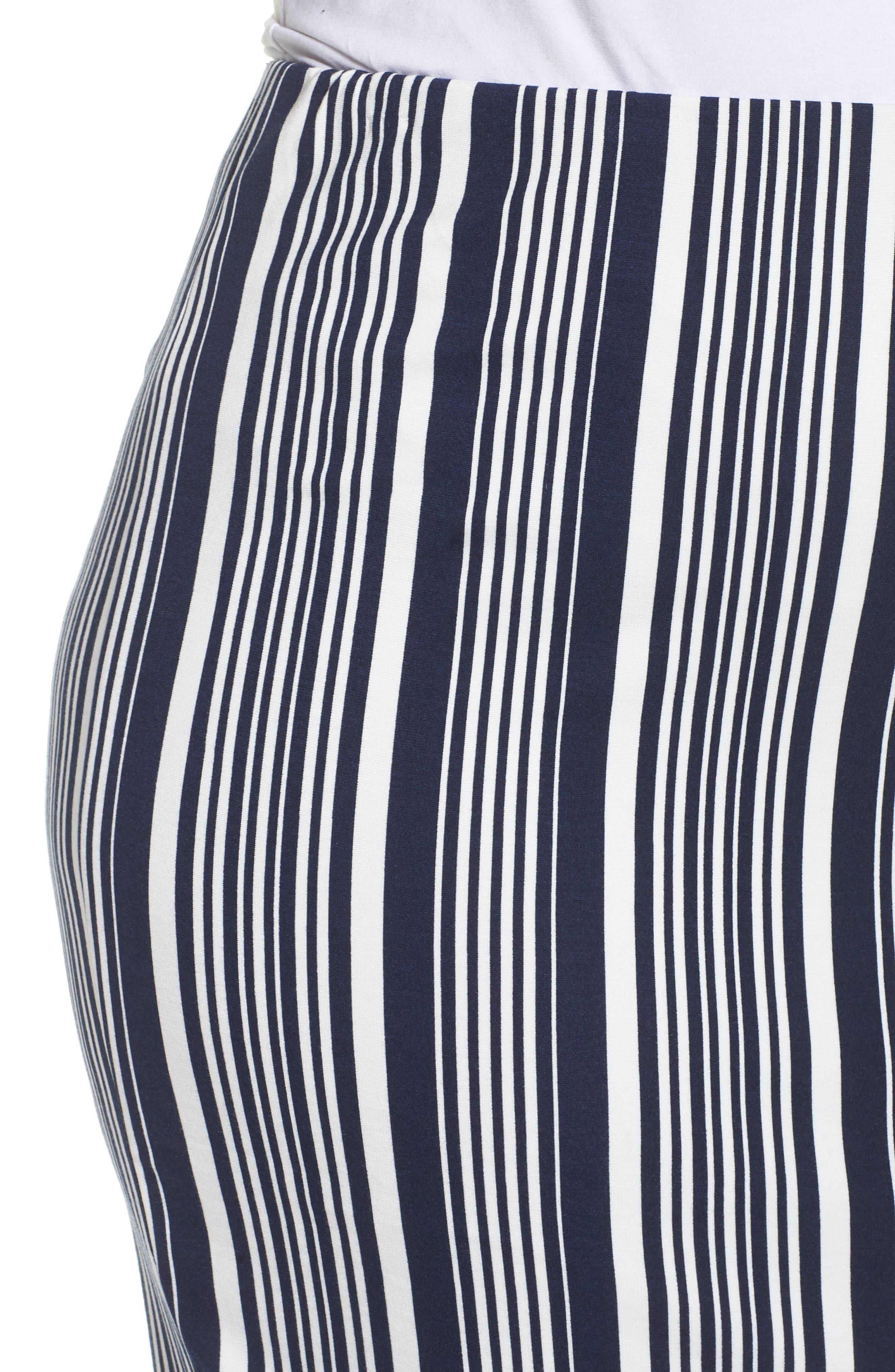 Stripe Ponte Pencil Skirt,                             Alternate thumbnail 4, color,                             Navy Alexis Stripe