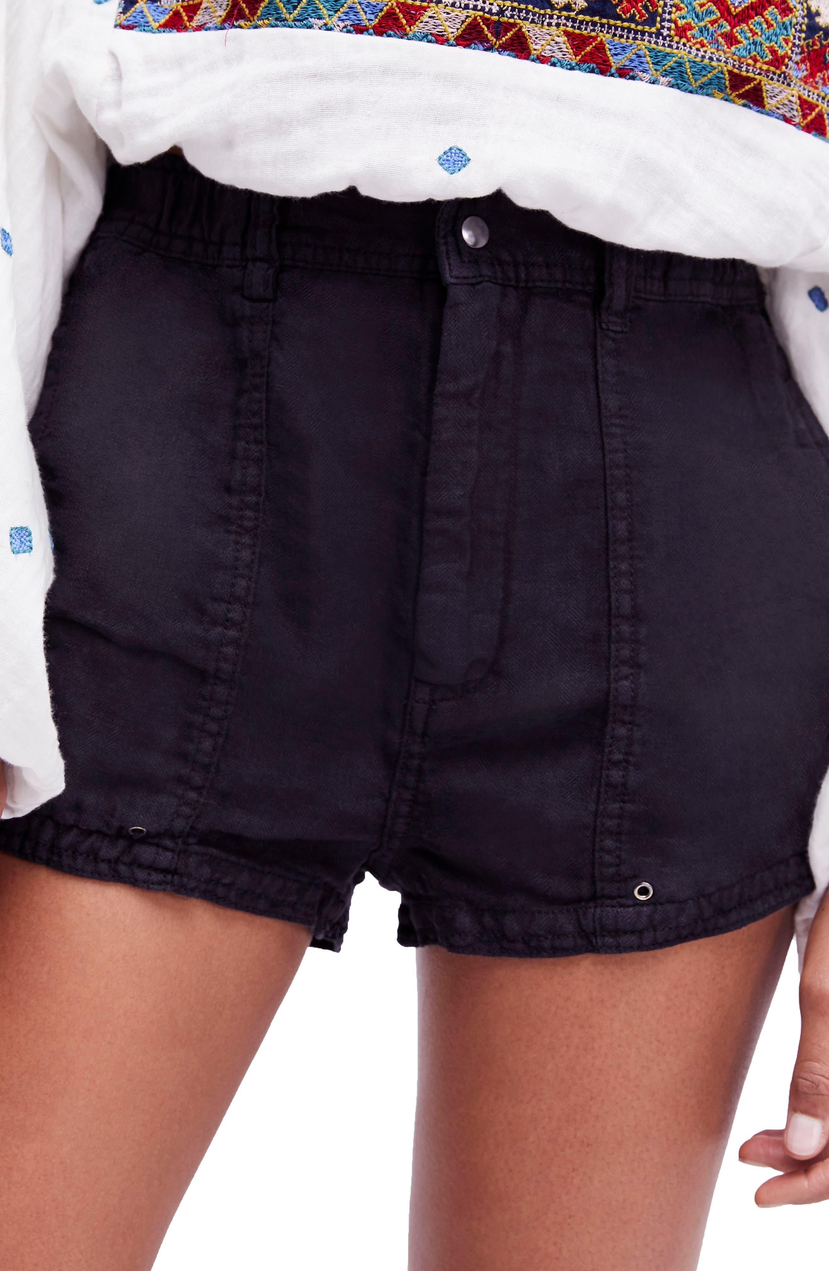 Beacon Utility Linen Shorts,                             Main thumbnail 1, color,                             Black