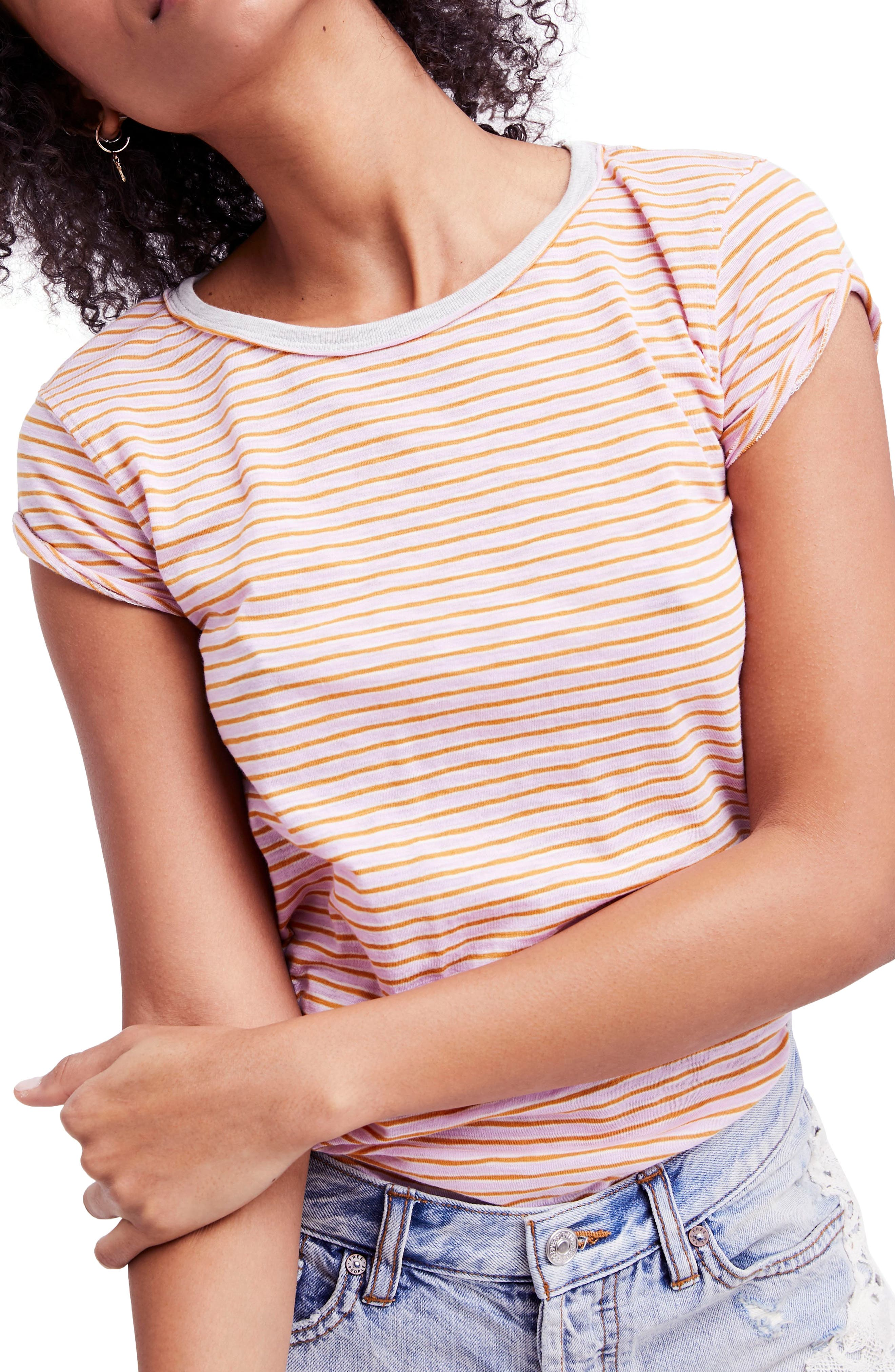 Clare Stripe Tee,                         Main,                         color, Pink Combo