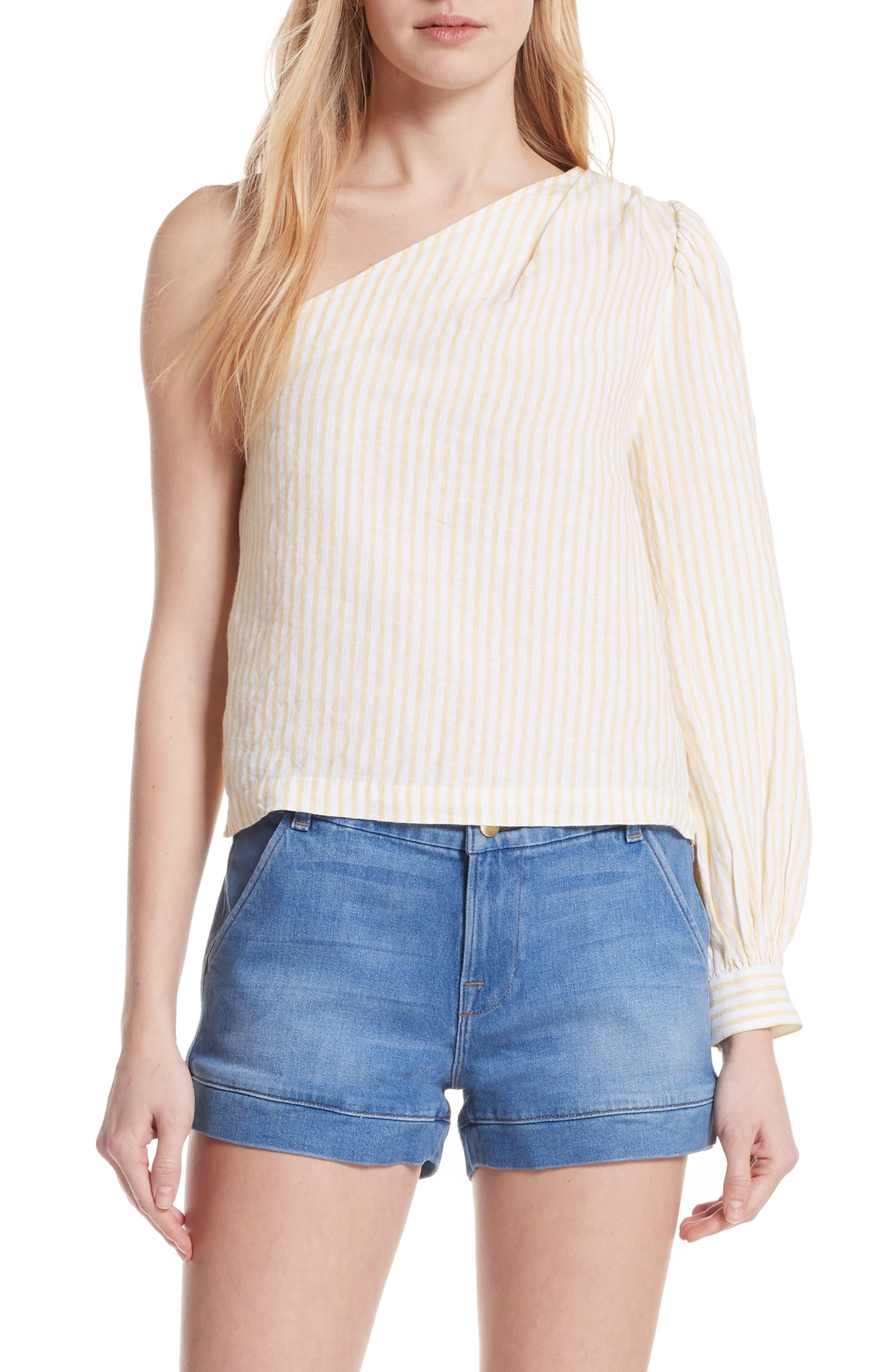 FRAME Stripe Linen One-Shoulder Top