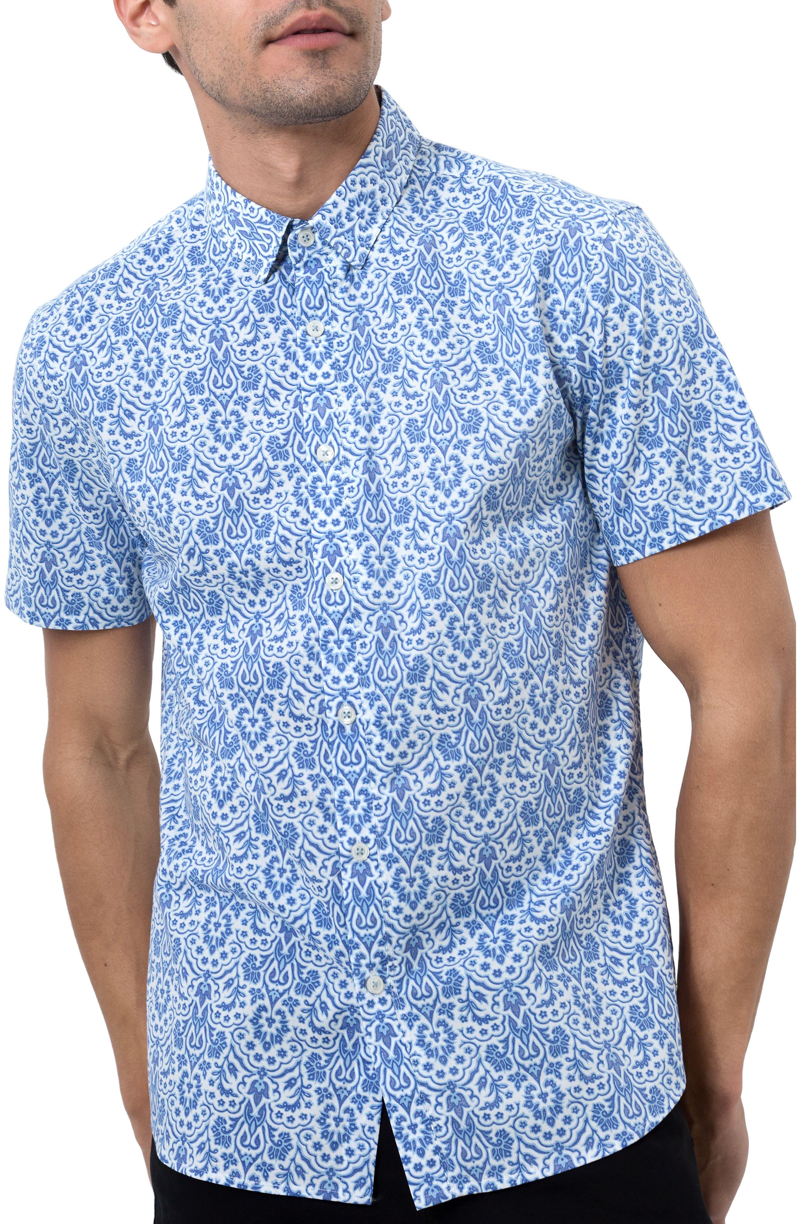 Route 66 Print Sport Shirt,                         Main,                         color, Blue