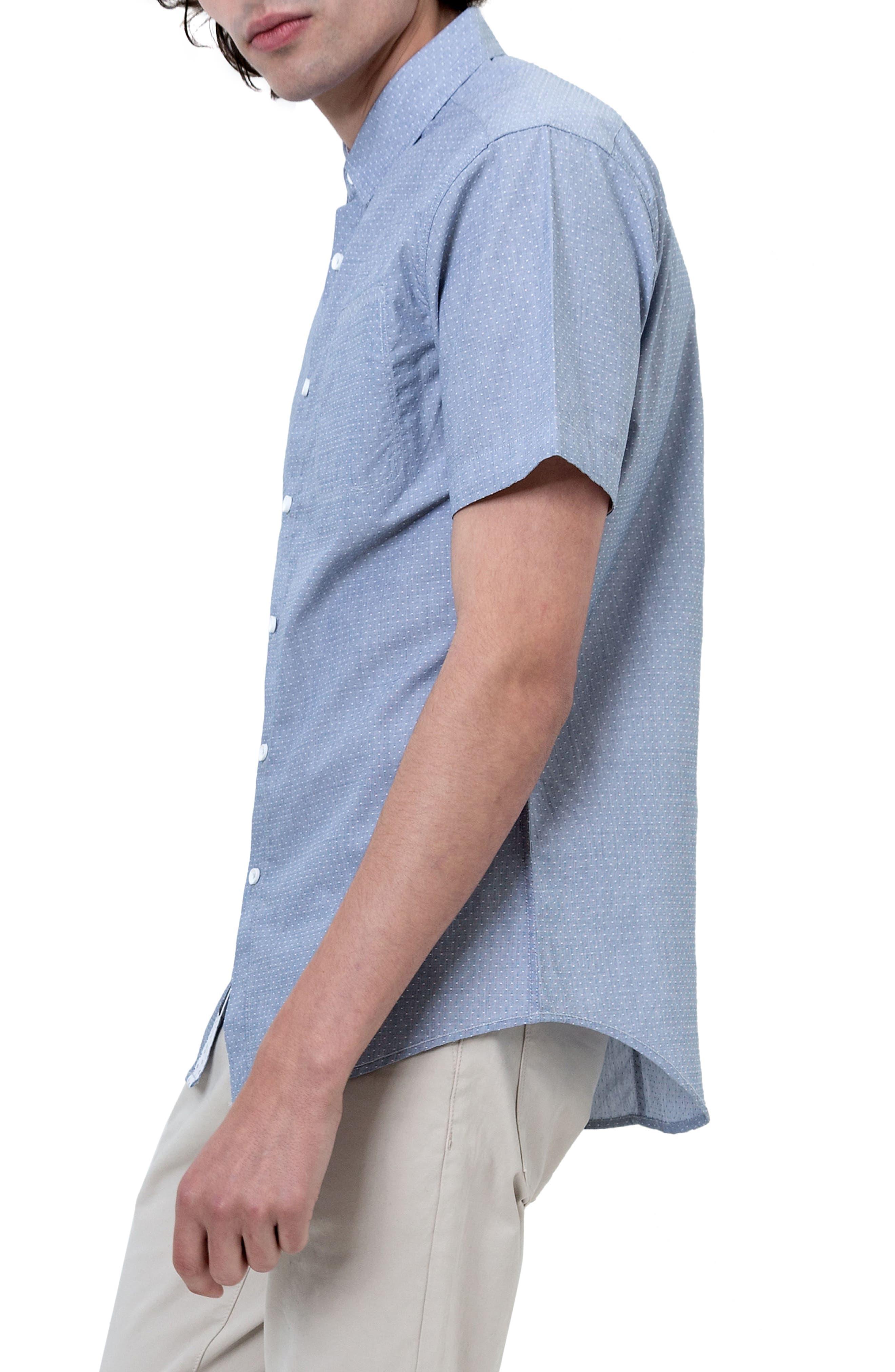 Reflective Dobby Dot Sport Shirt,                             Alternate thumbnail 3, color,                             Grey
