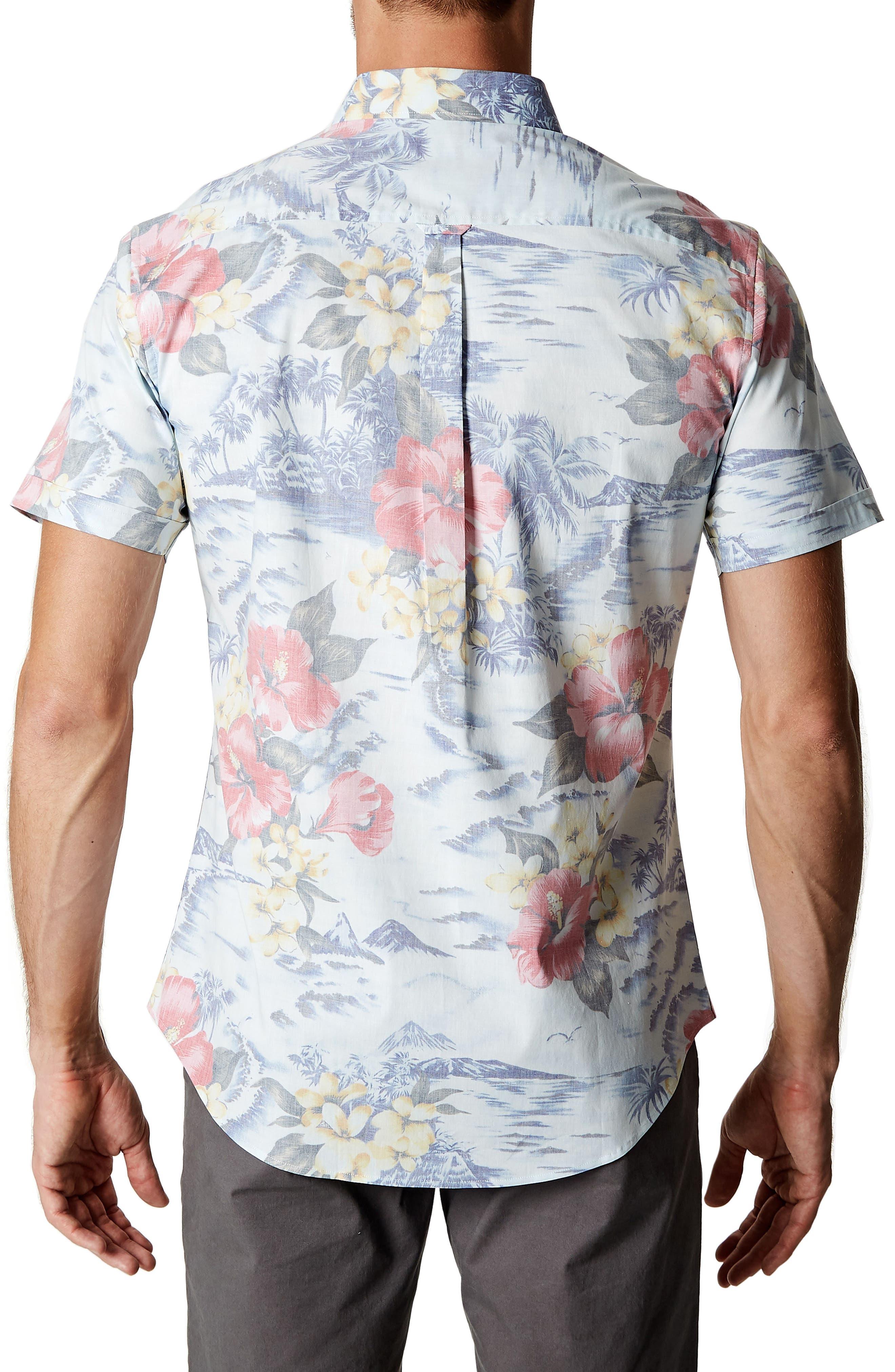 Vacation Tropical Print Sport Shirt,                             Alternate thumbnail 2, color,                             Lt. Blue