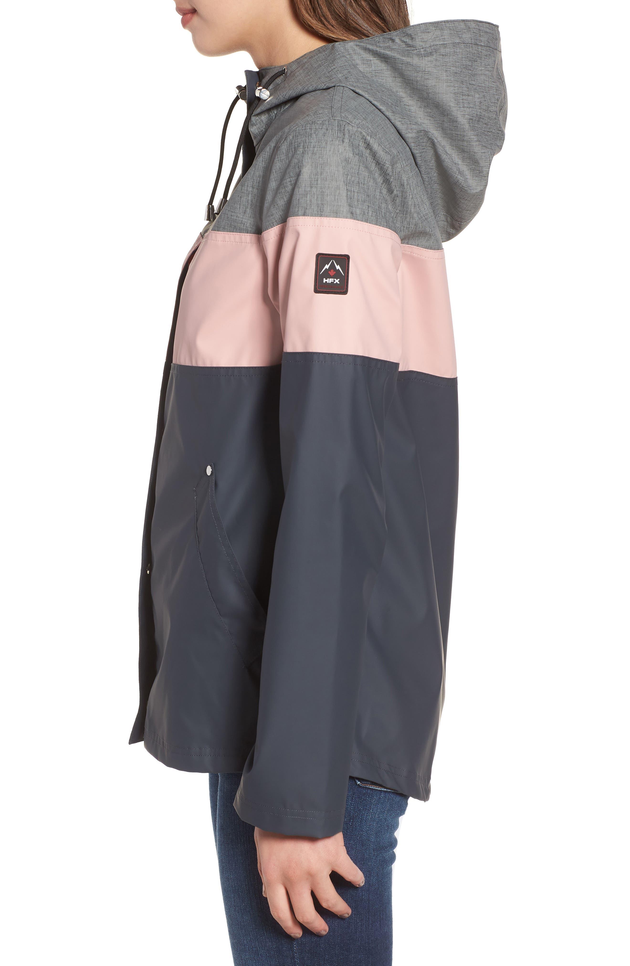 Hooded Raincoat,                             Alternate thumbnail 3, color,                             Storm/ Blush/ Mech Grey