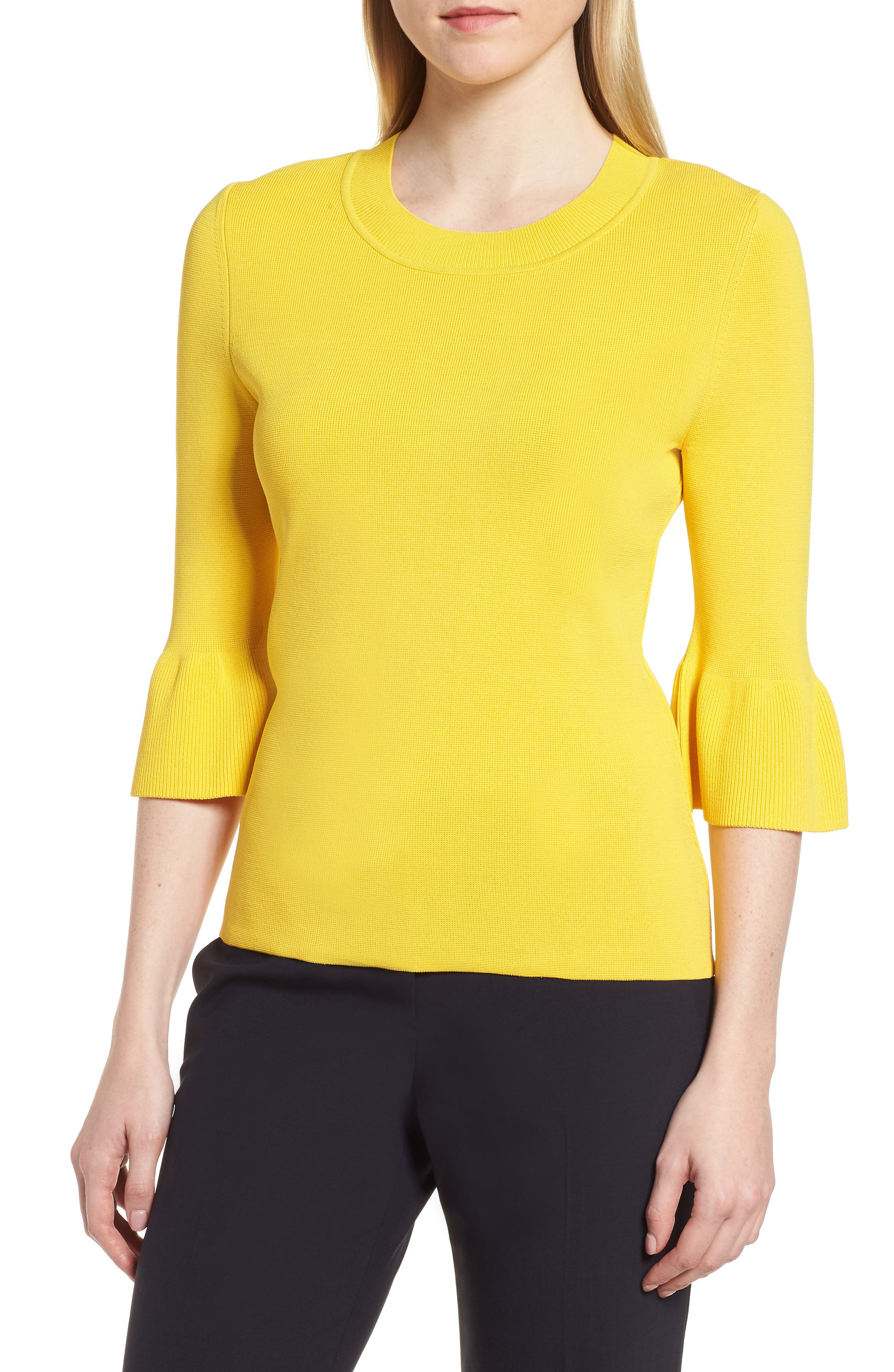 Fenella Ruffle Sleeve Sweater,                             Main thumbnail 1, color,                             Sun Yellow