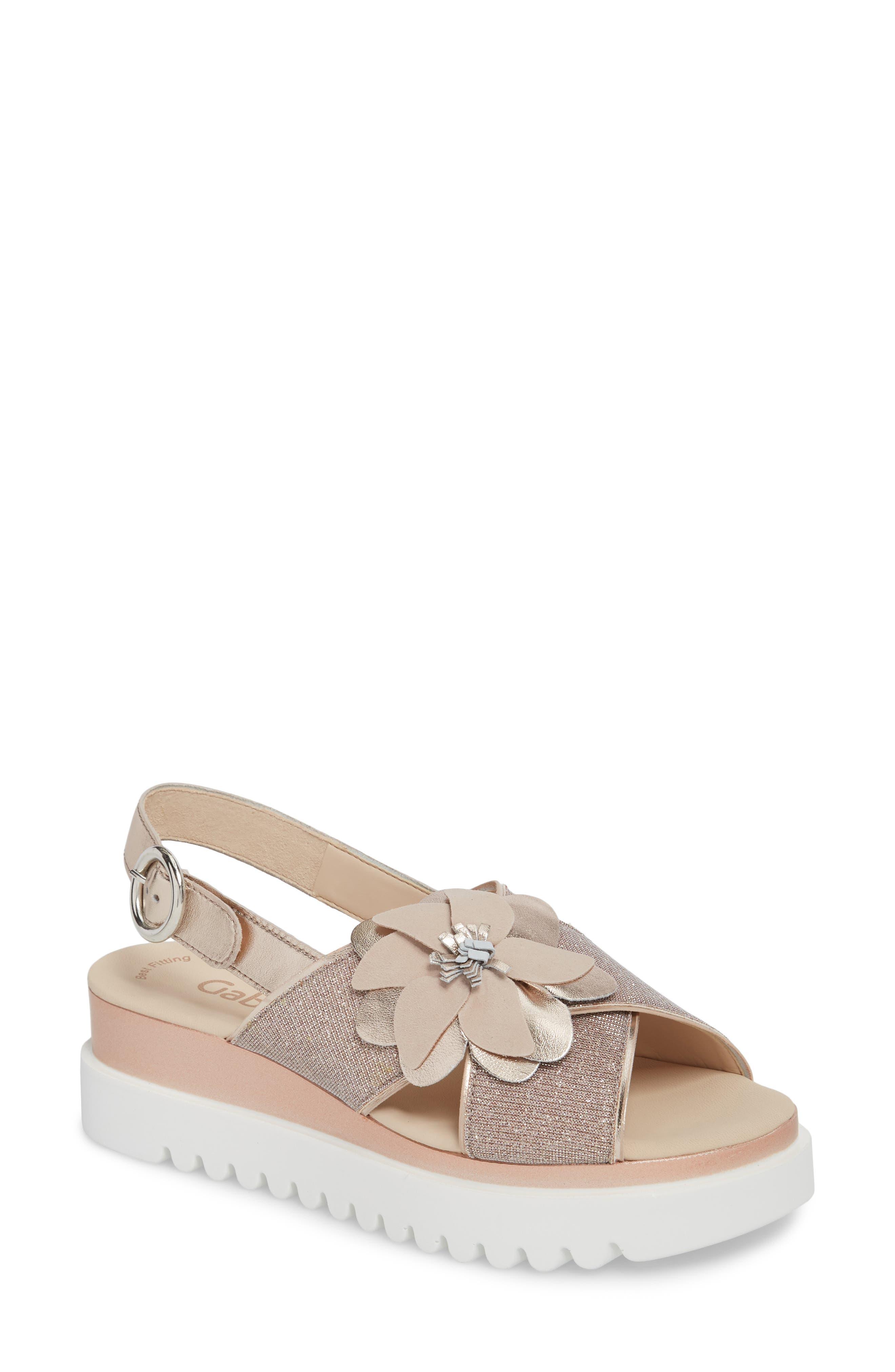 Flower Platform Sandal,                             Main thumbnail 1, color,                             Rose Metallic Fabric