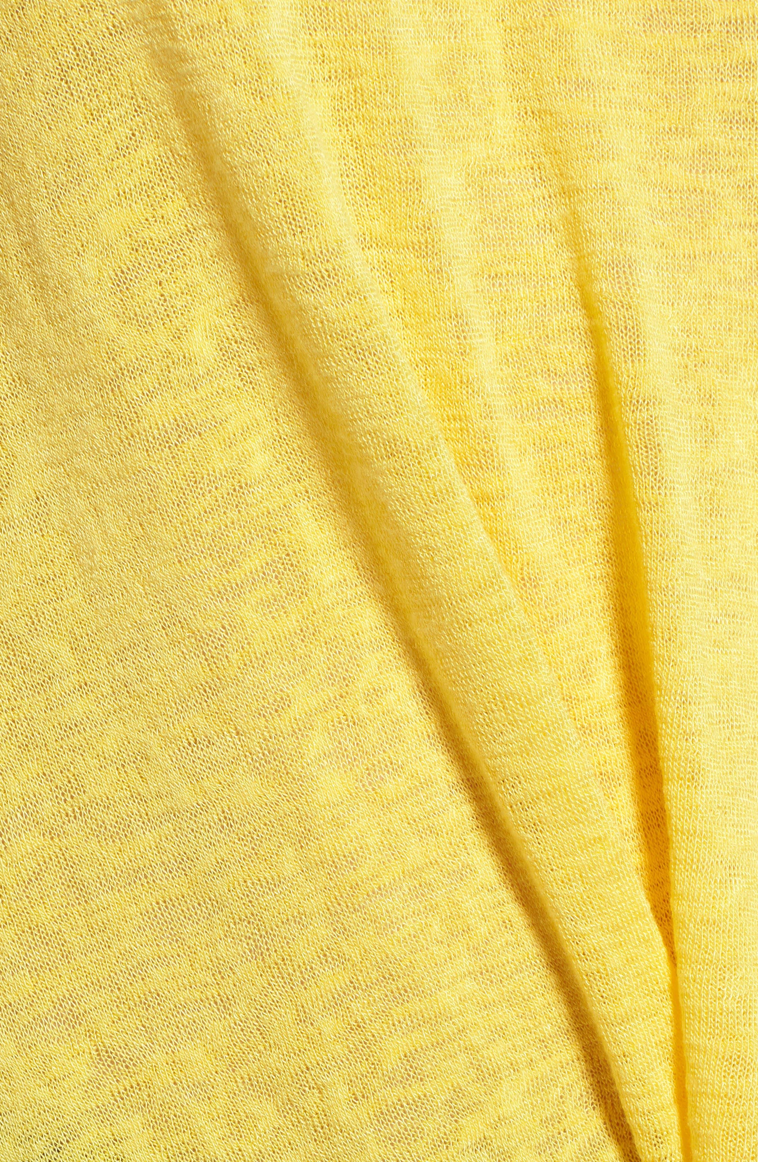 Jessica Twist Hem Slub Tee,                             Alternate thumbnail 6, color,                             Yellow Zest