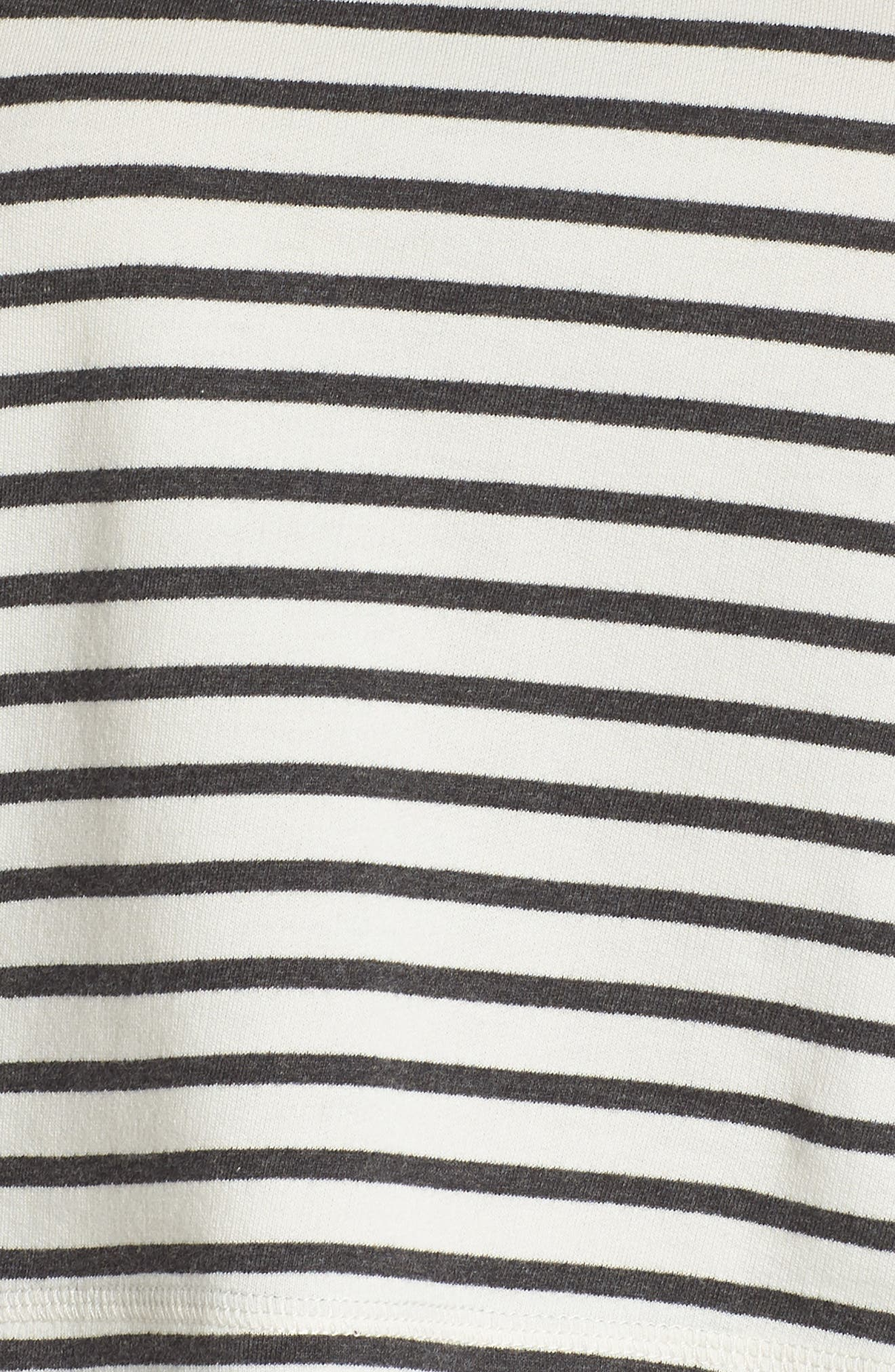 French Terry Crop Hoodie,                             Alternate thumbnail 7, color,                             Heather Black Stripe