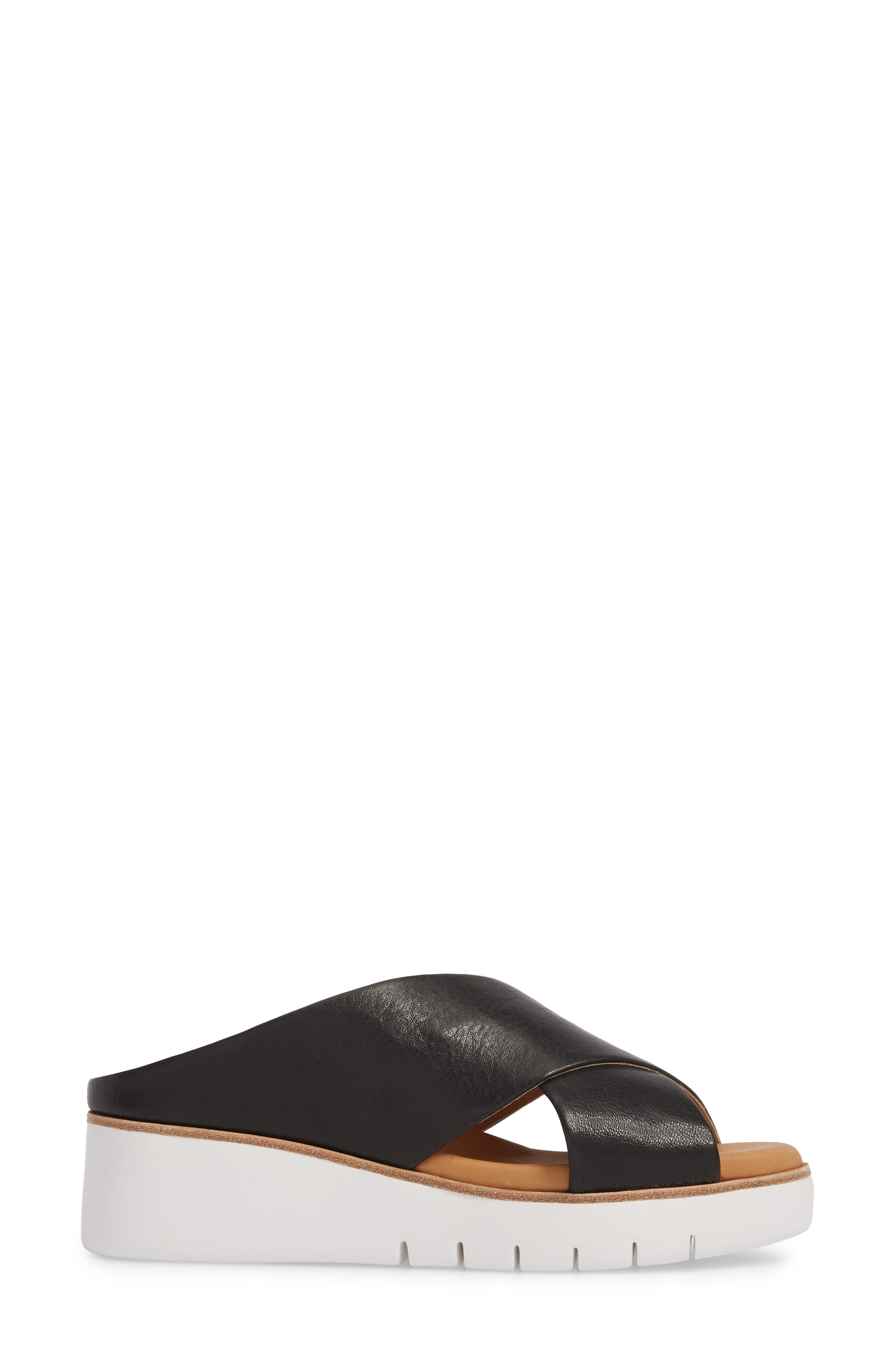 Brunna Sandal,                             Alternate thumbnail 3, color,                             Black Leather