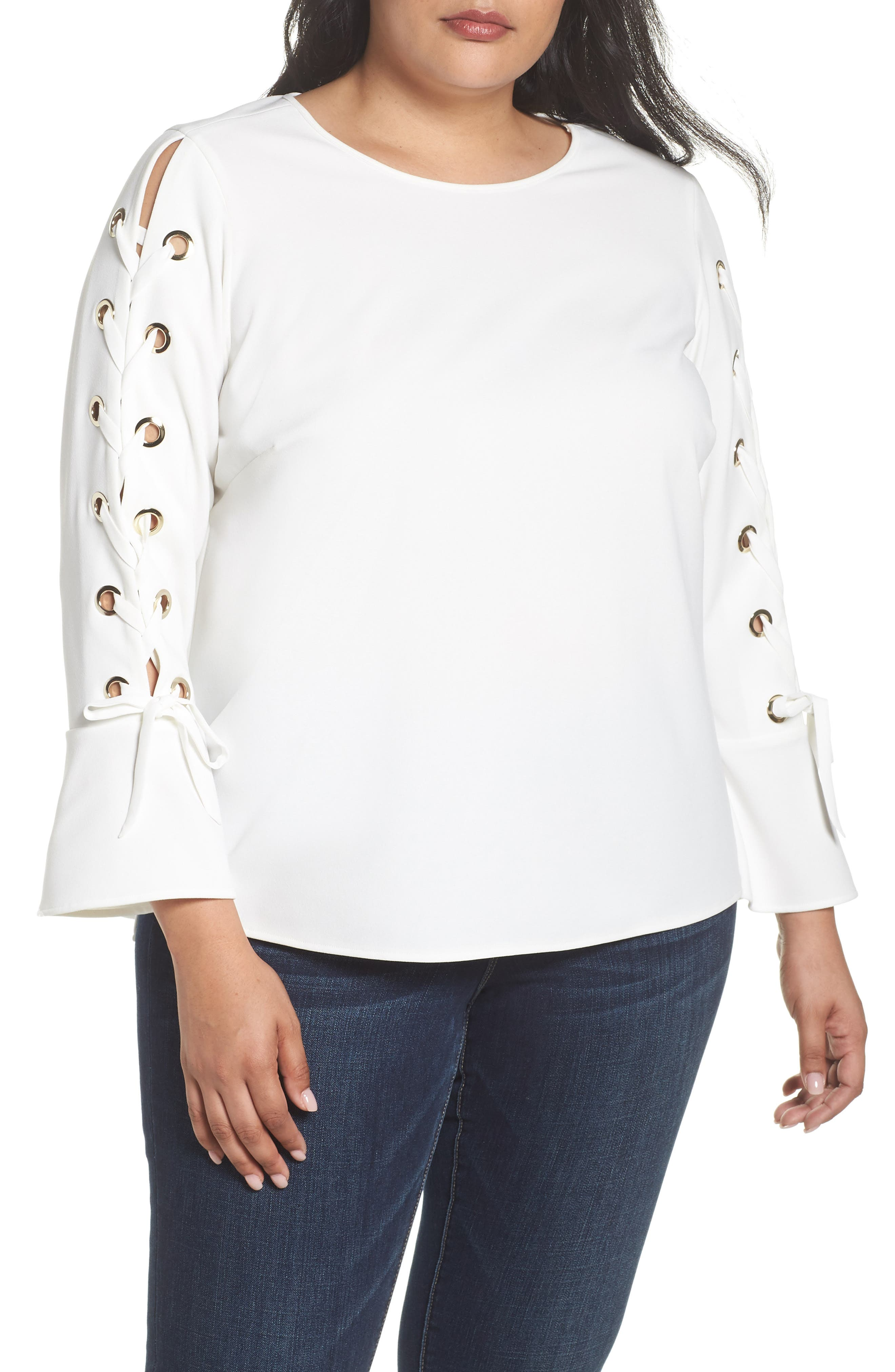 Lace-Up Bell Sleeve Top,                             Main thumbnail 1, color,                             New Ivory