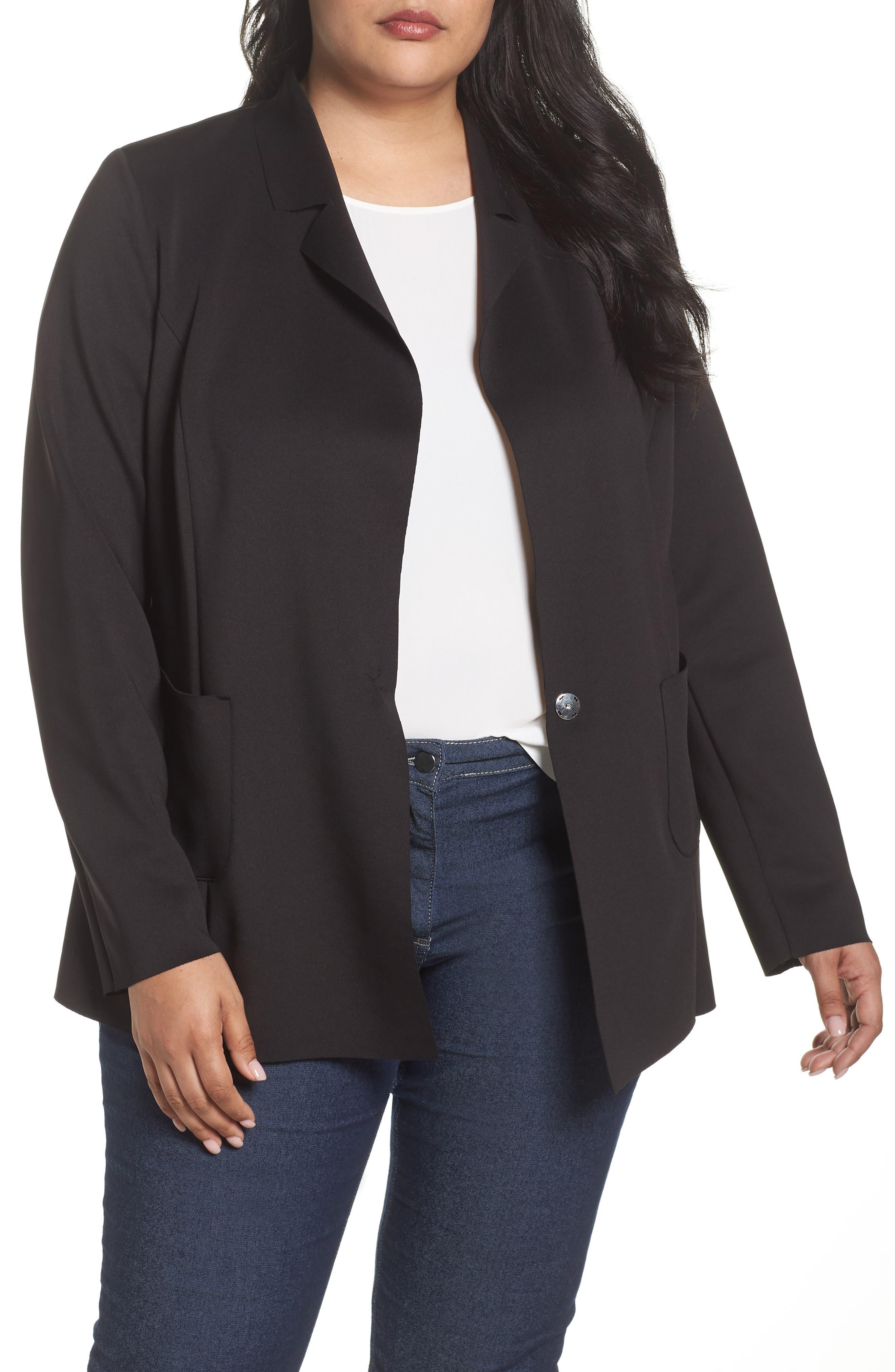 Knit Blazer,                         Main,                         color, Black
