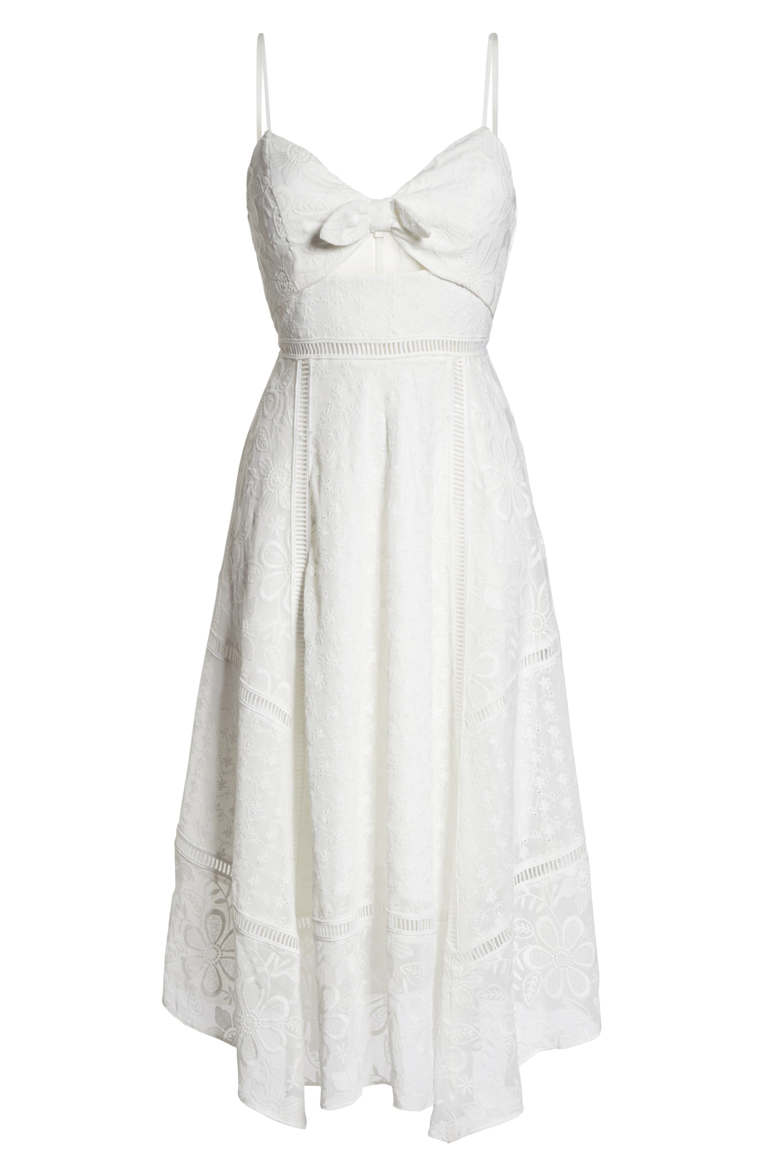 Broderie Anglaise Knot Detail Dress,                             Alternate thumbnail 7, color,                             White