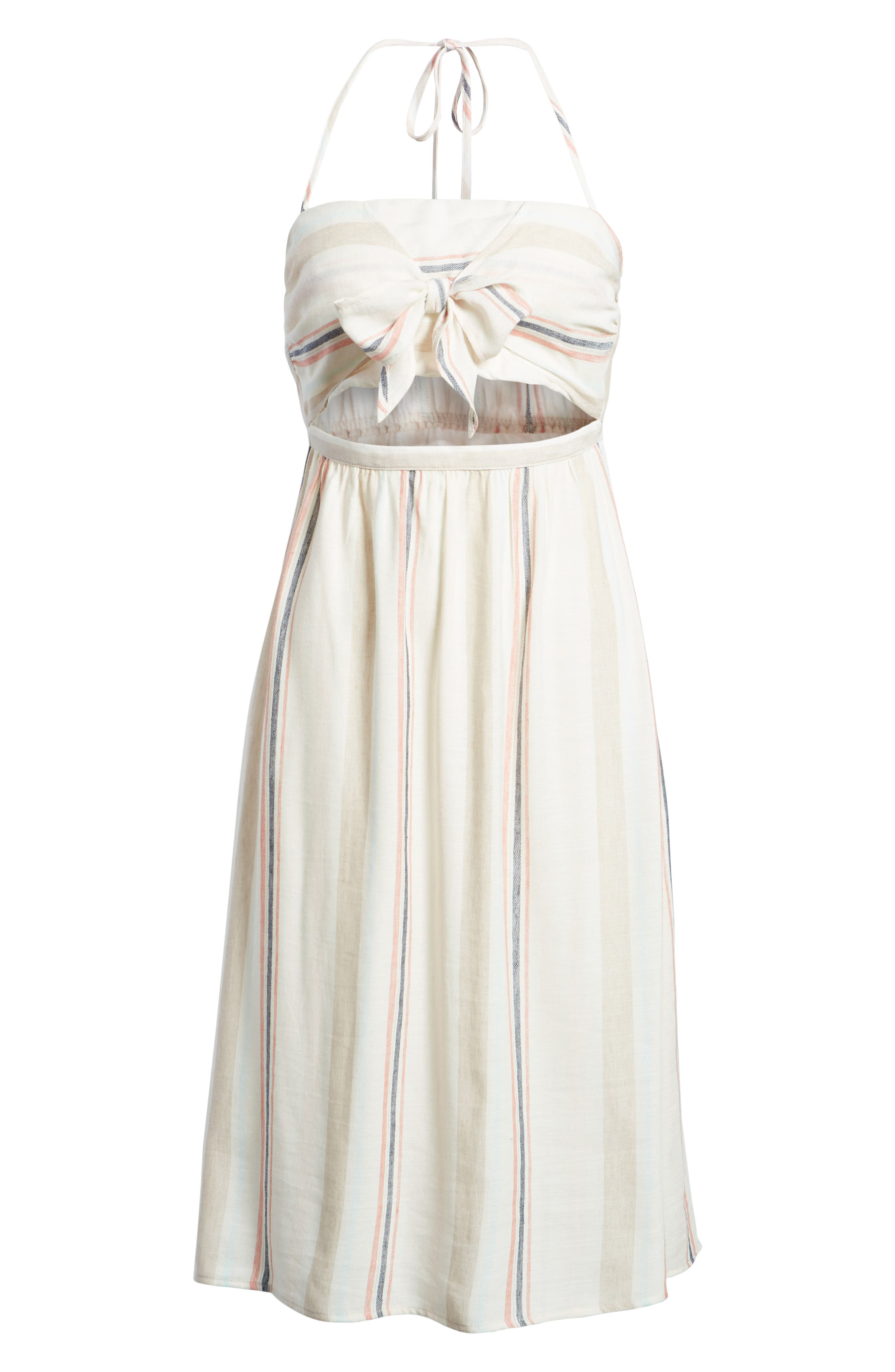 Tie Front Midi Dress,                             Alternate thumbnail 7, color,                             Ivory Red