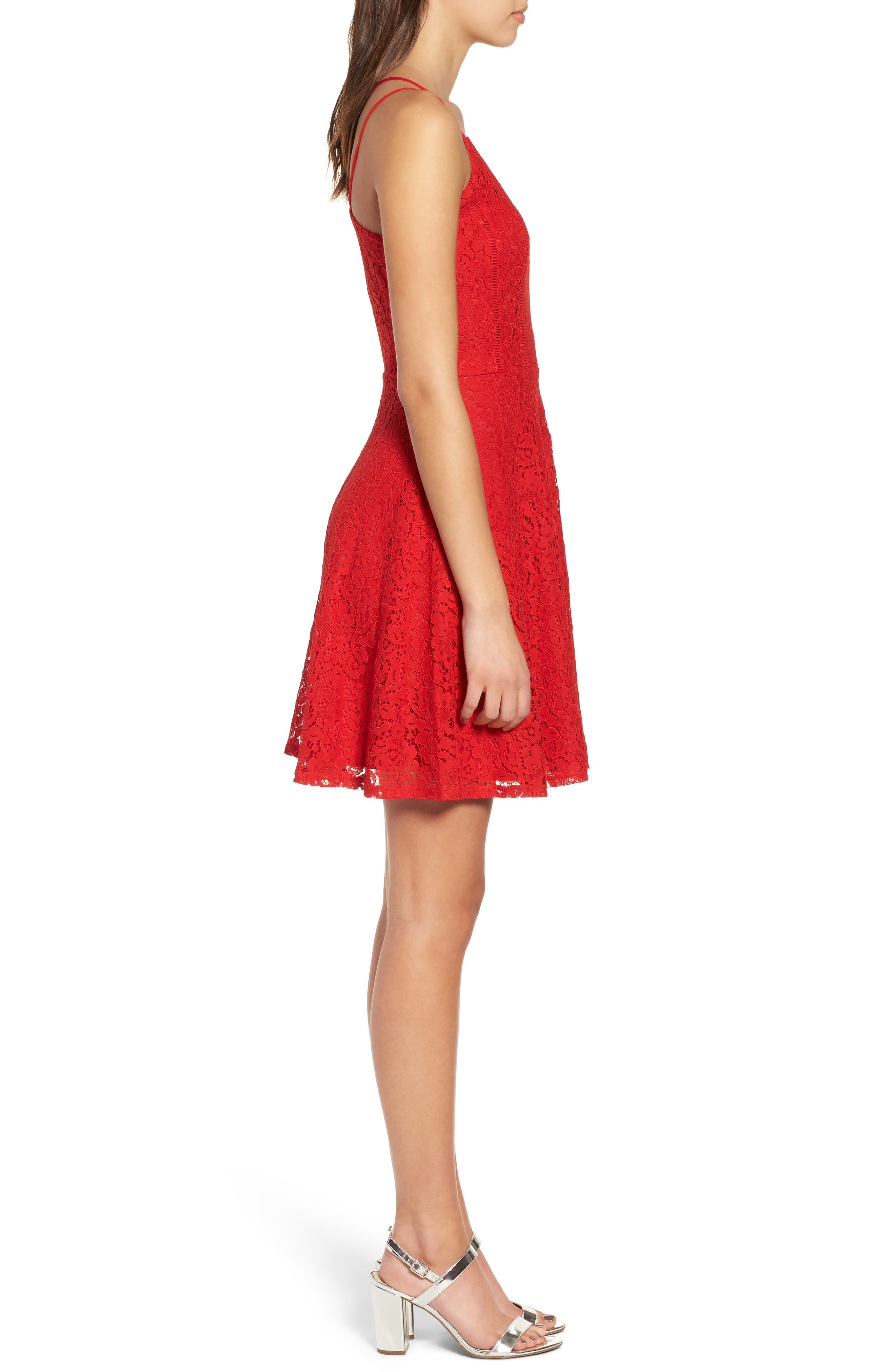 Strappy Lace Fit & Flare Dress,                             Alternate thumbnail 3, color,                             Tomato