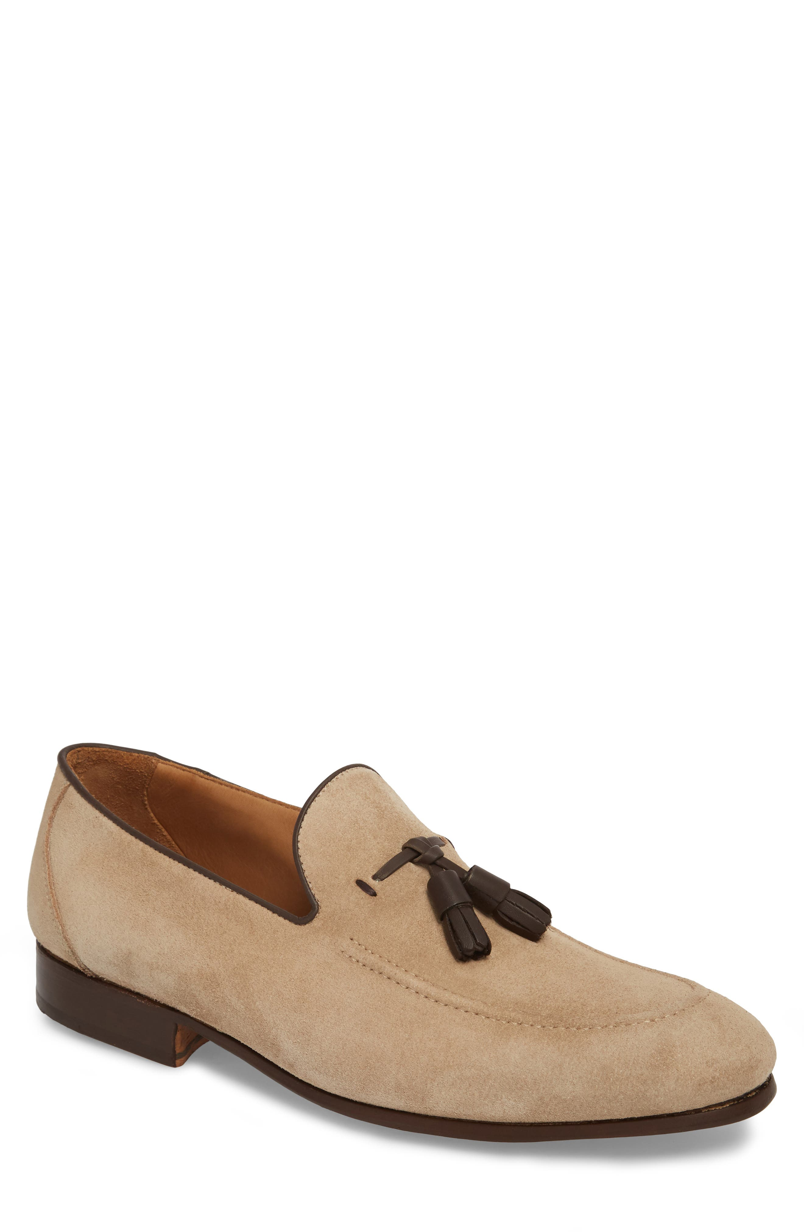 Ario Tassel Loafer,                             Main thumbnail 1, color,                             Sand Suede