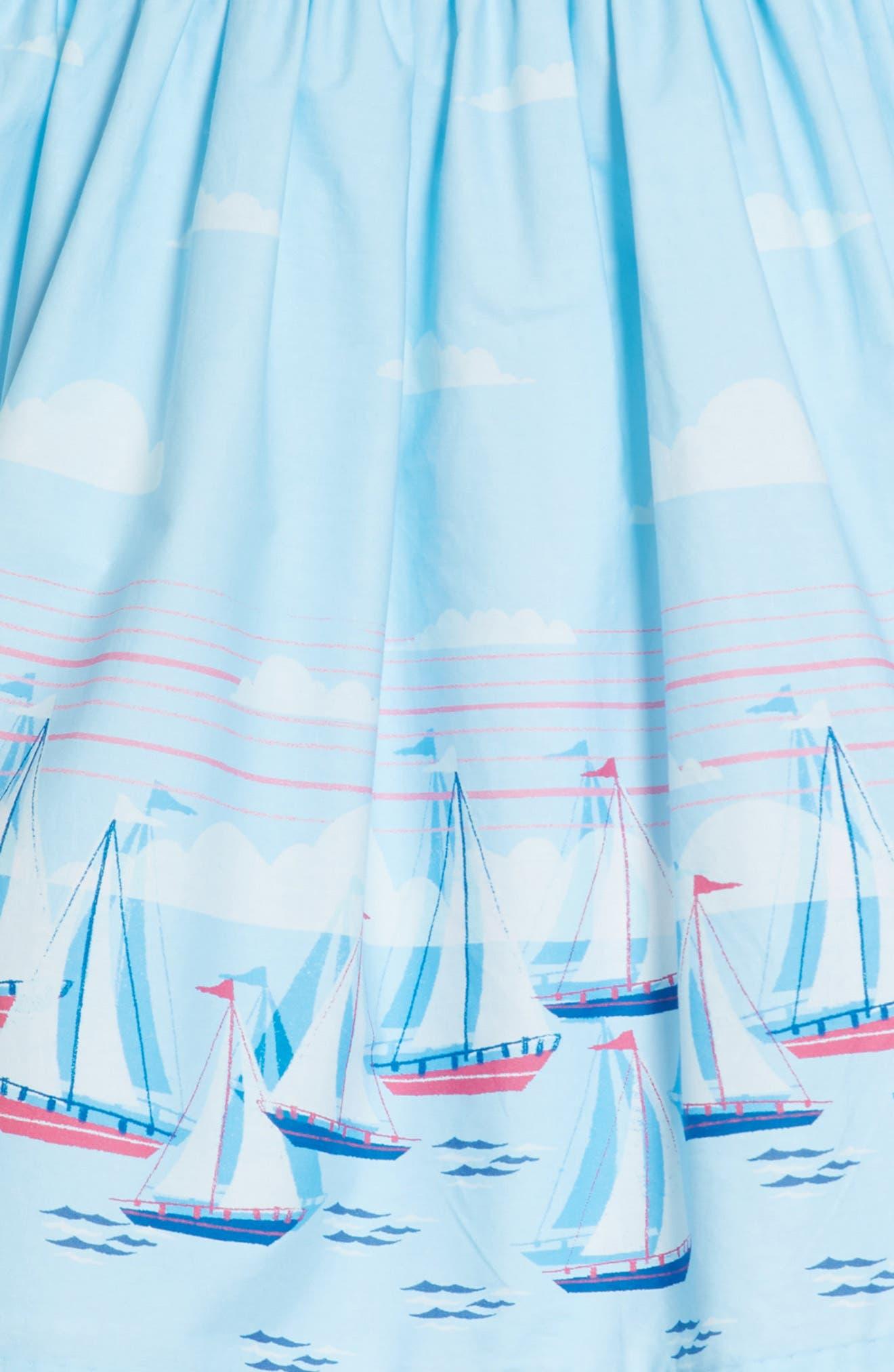 Sailboat Dress,                             Alternate thumbnail 3, color,                             Blue