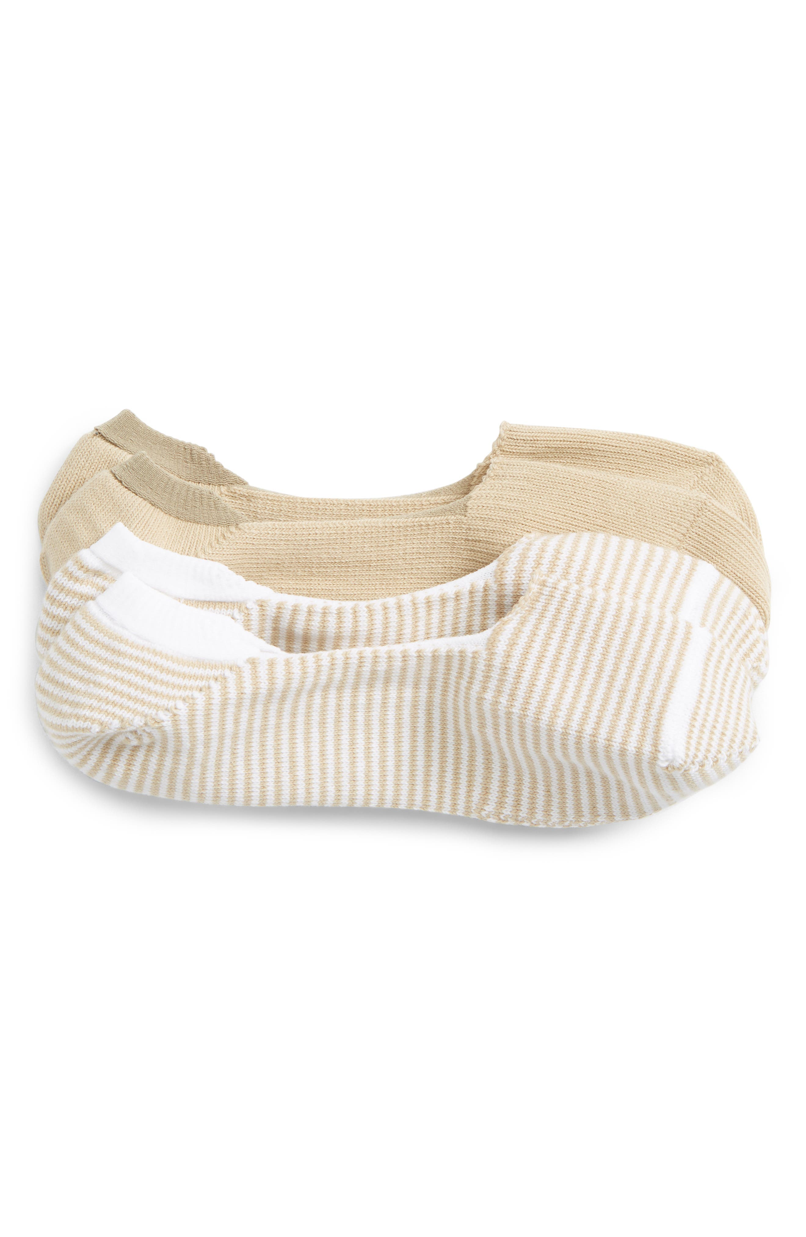 2-Pack Liner Socks,                             Main thumbnail 1, color,                             Tan Nomad/ White