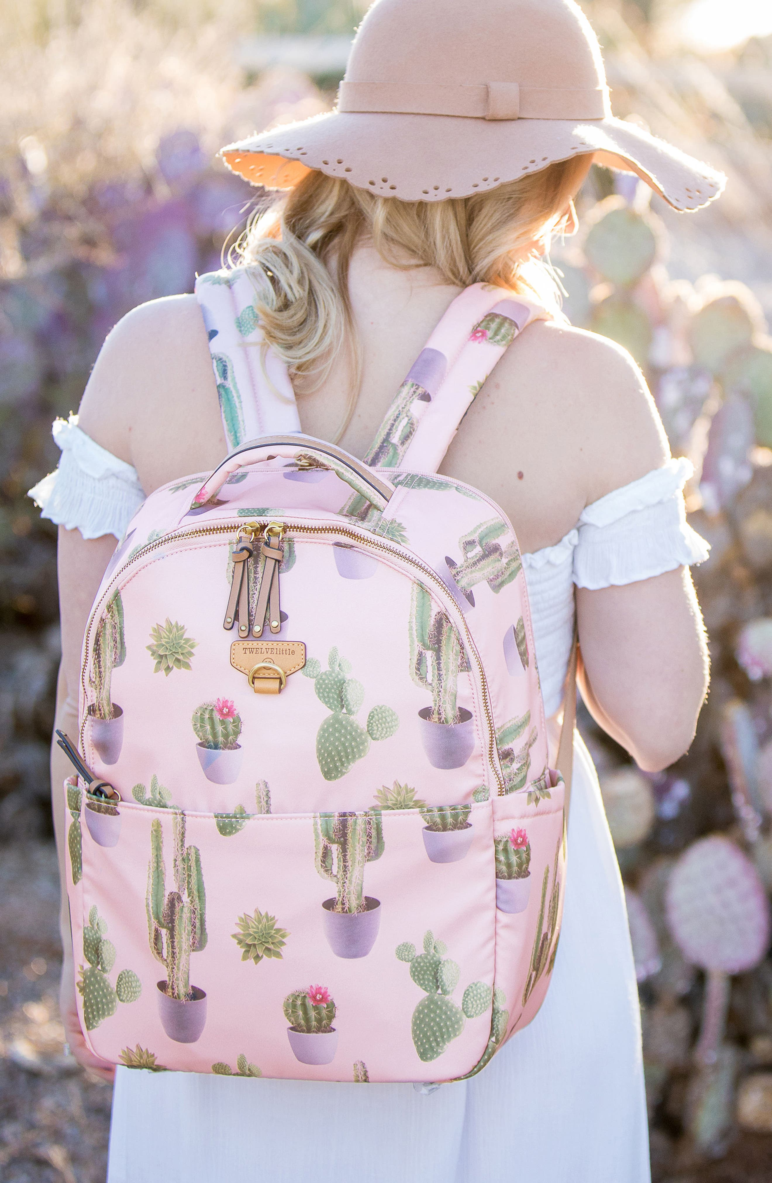 On-the-Go Water Resistant Diaper Backpack,                             Alternate thumbnail 6, color,                             Cactus