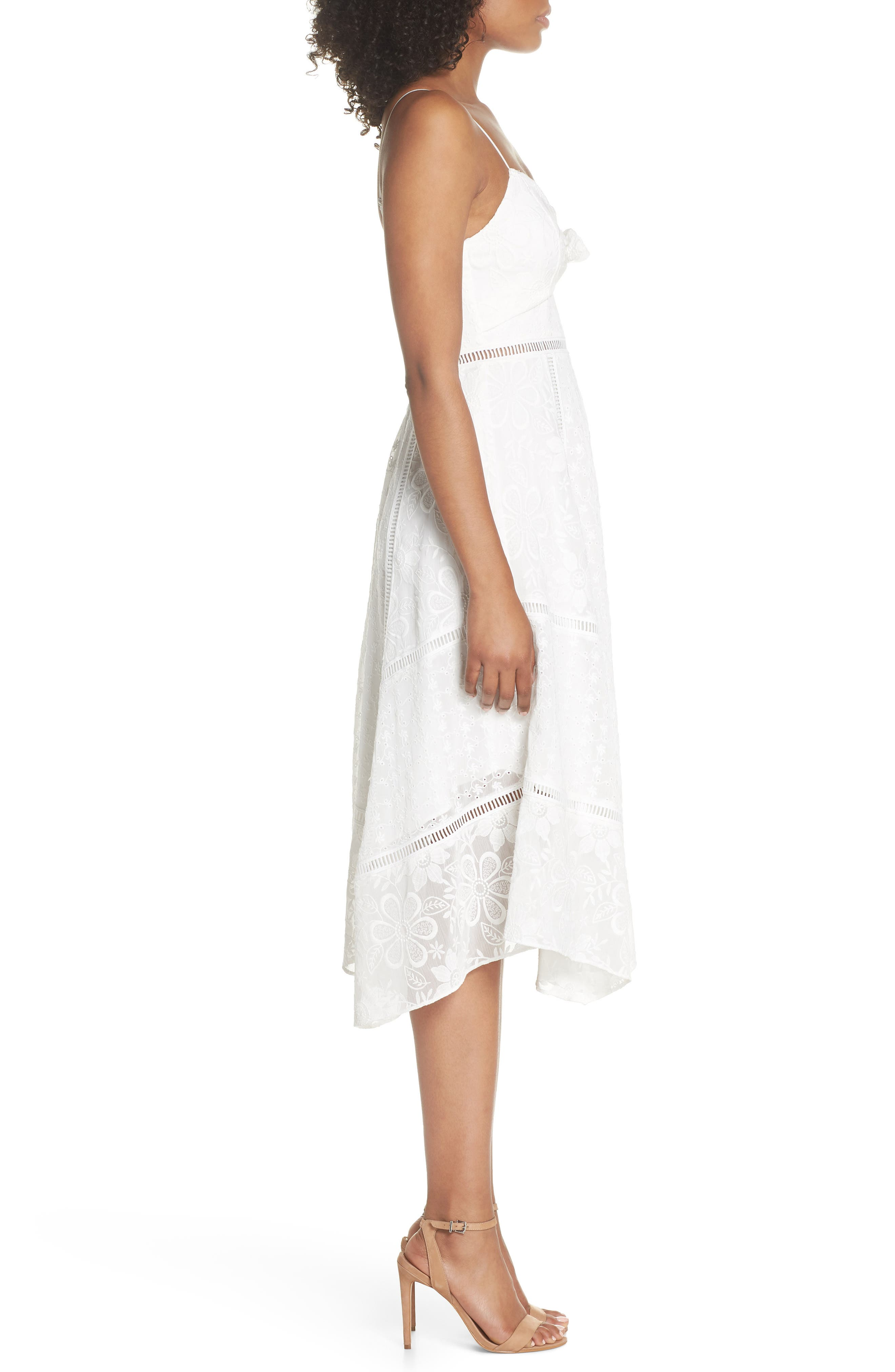 Broderie Anglaise Knot Detail Dress,                             Alternate thumbnail 3, color,                             White