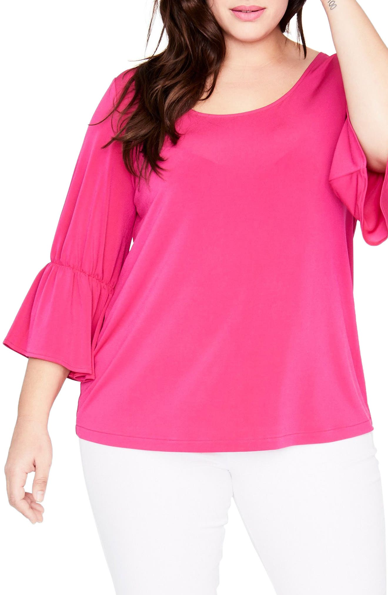 RACHEL Rachel Roy Ruffle Sleeve Top (Plus Size)
