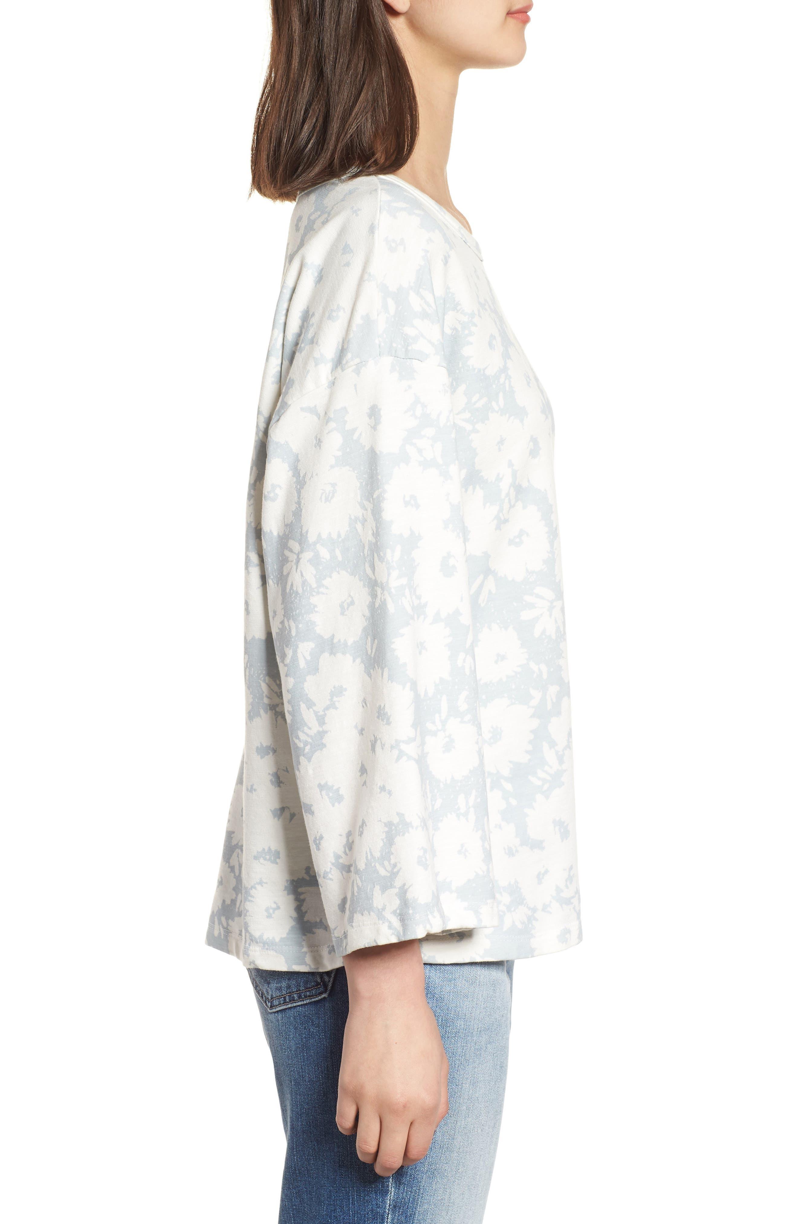 Kimono Sweatshirt,                             Alternate thumbnail 3, color,                             Sky/ White
