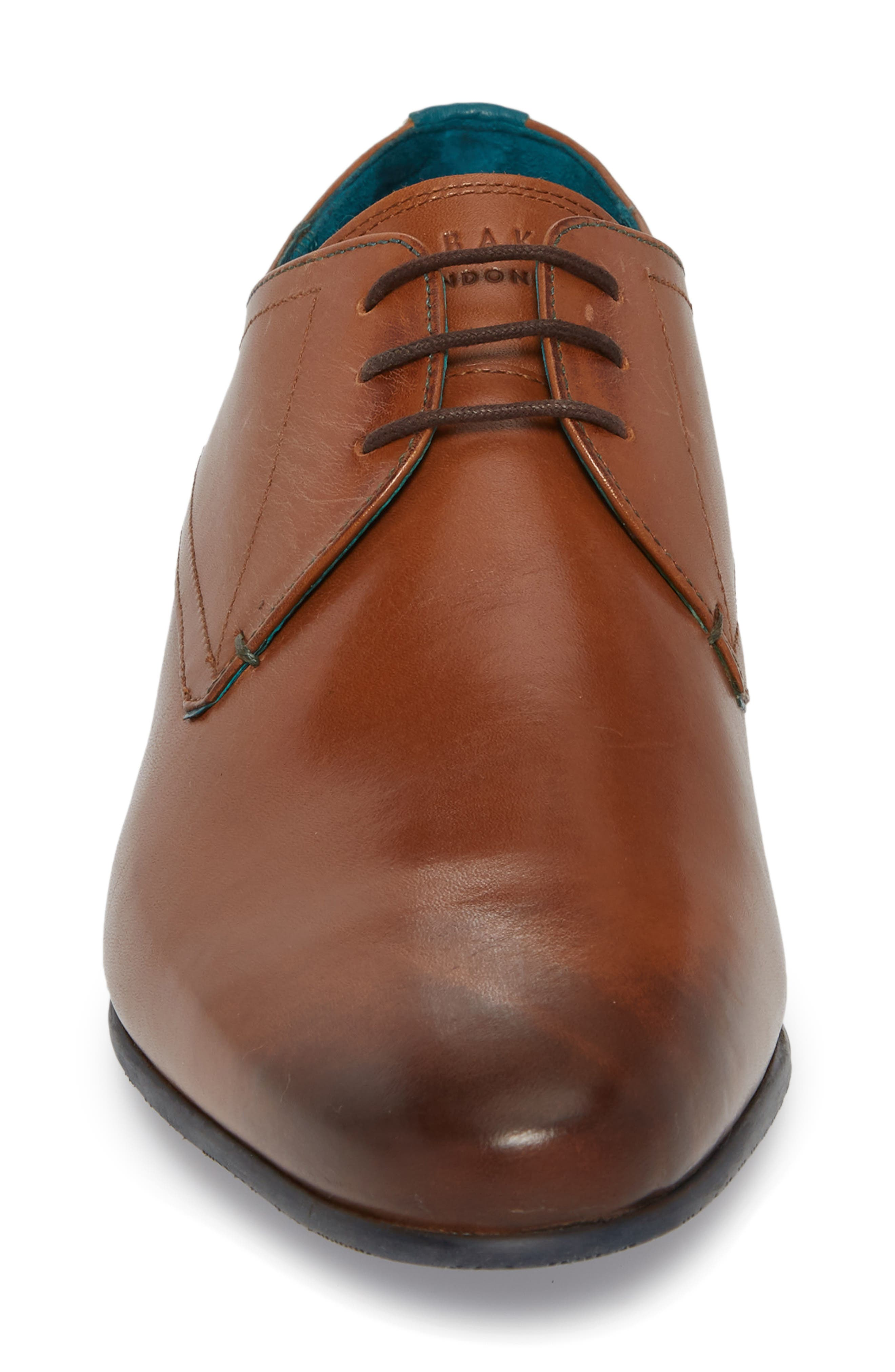 Bhartli Plain Toe Derby,                             Alternate thumbnail 4, color,                             Tan Leather