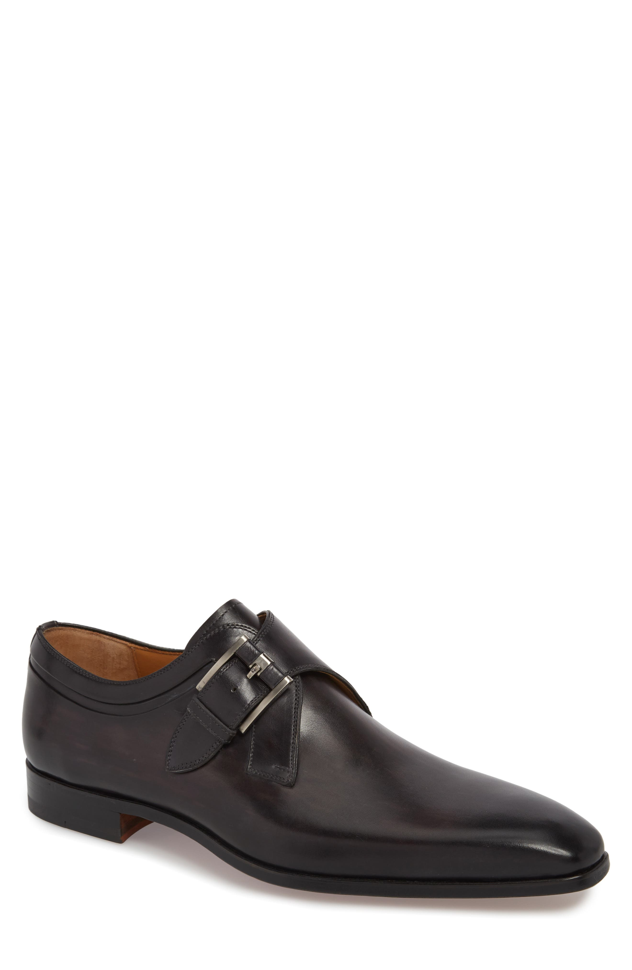 Toma Single Buckle Monk Shoe,                         Main,                         color, Grey Leather