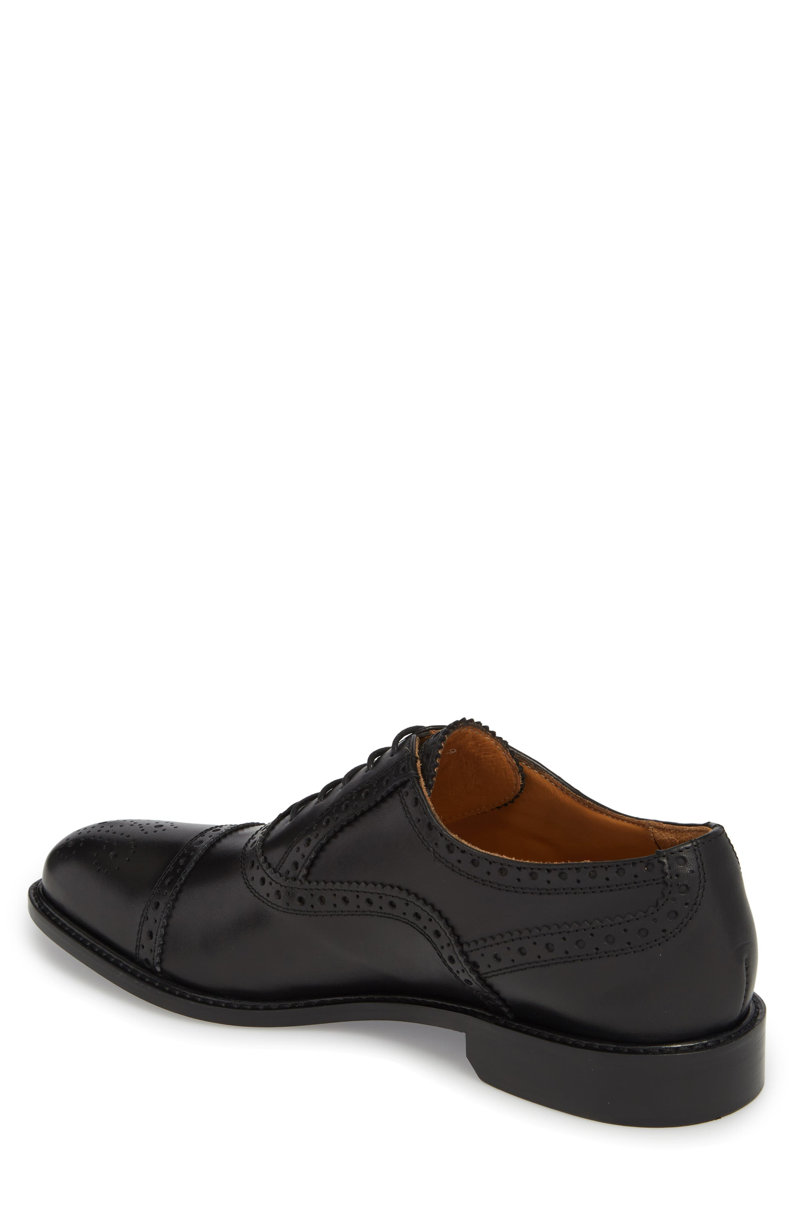 Index Cap Toe Oxford,                             Alternate thumbnail 2, color,                             Black Leather