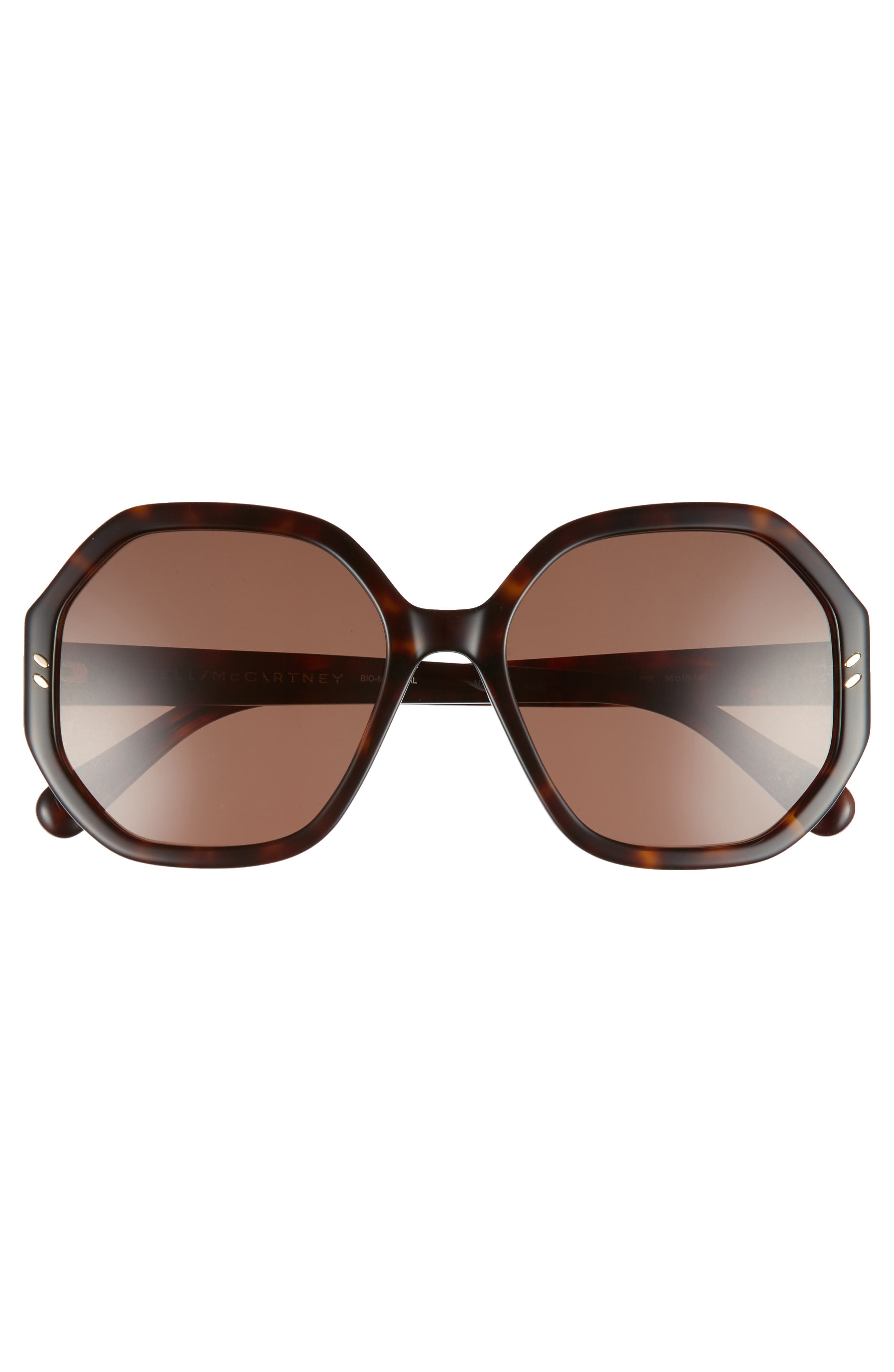 56mm Hexagonal Sunglasses,                             Alternate thumbnail 3, color,                             Dark Havana