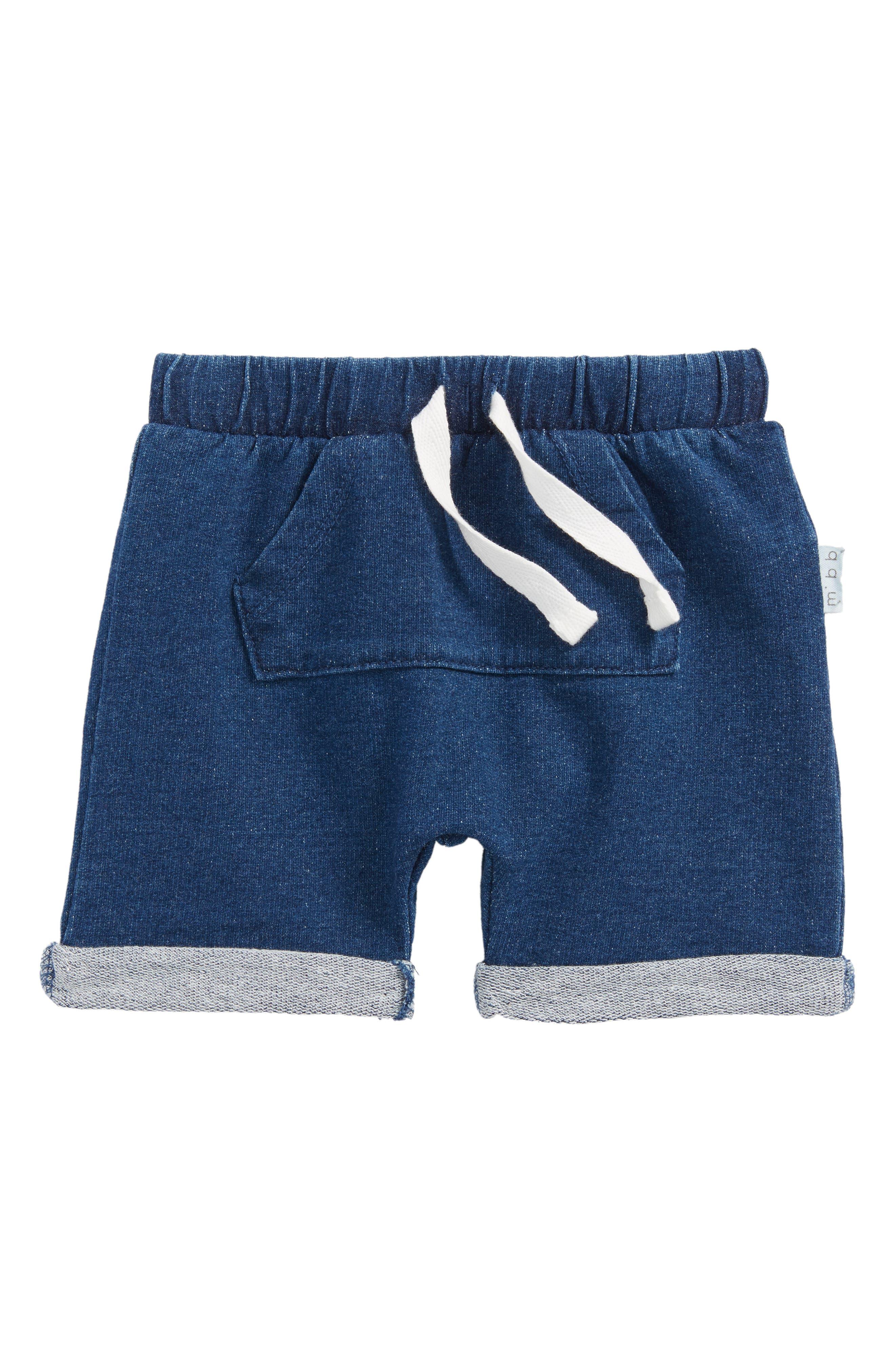 Denim Look Shorts,                             Main thumbnail 1, color,                             Blue