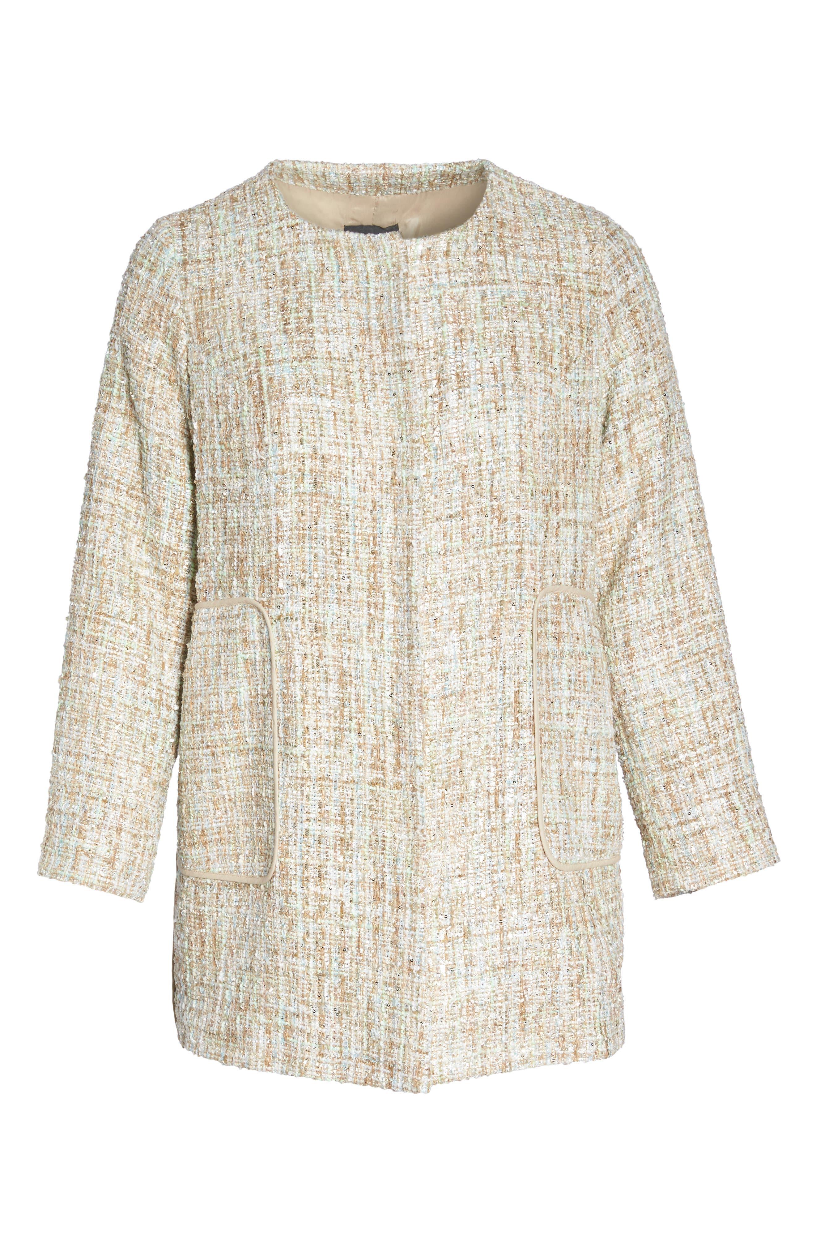 Metallic Tweed Jacket,                             Alternate thumbnail 7, color,                             White