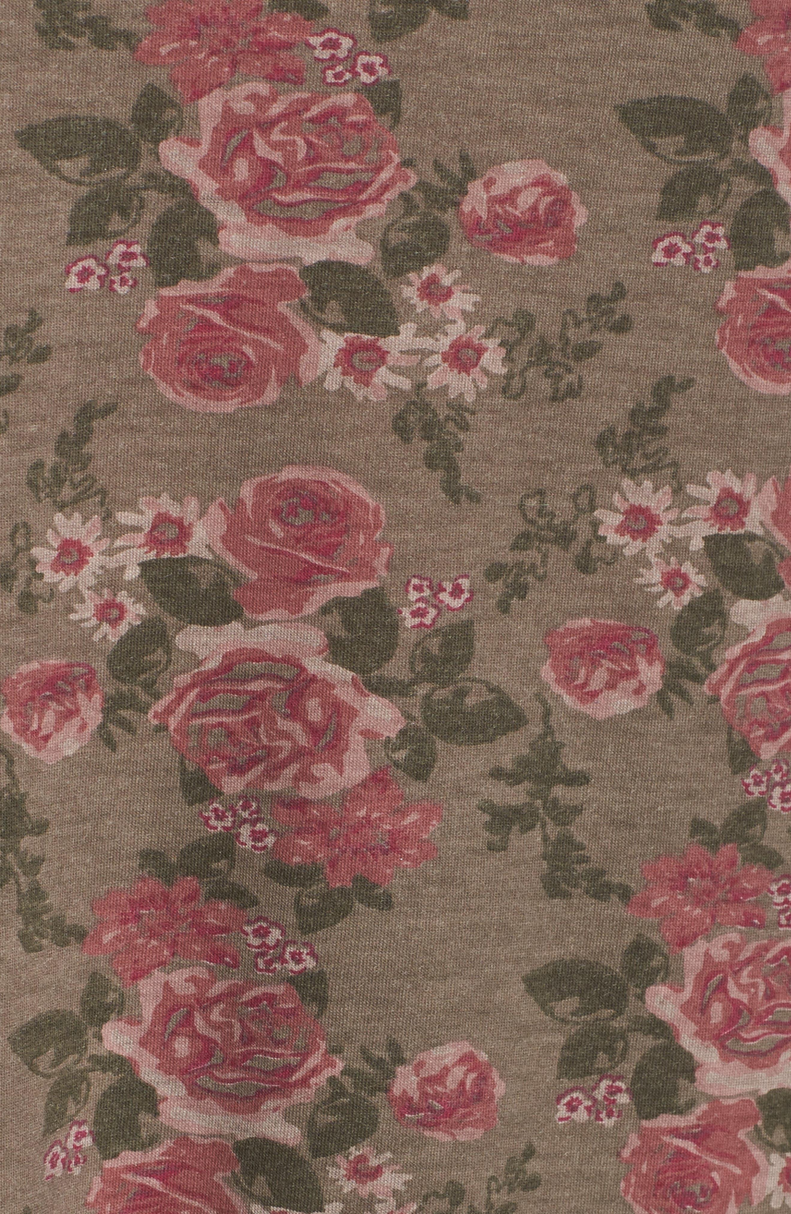 High/Low Oil Dye Floral Top,                             Alternate thumbnail 6, color,                             Moonrock