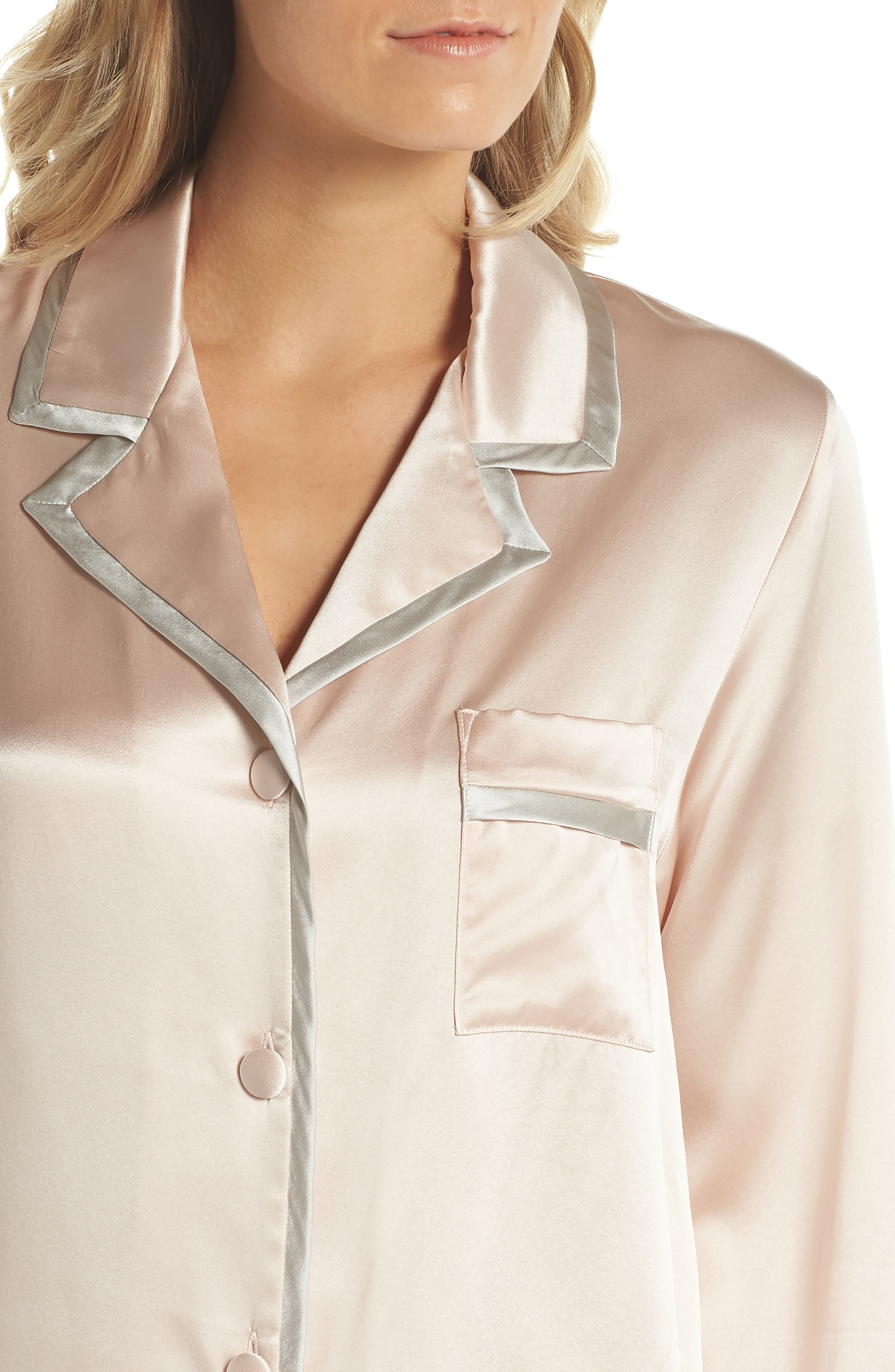 Coco Silk Pajamas,                             Alternate thumbnail 5, color,                             Rose Quartz / Antique Silver