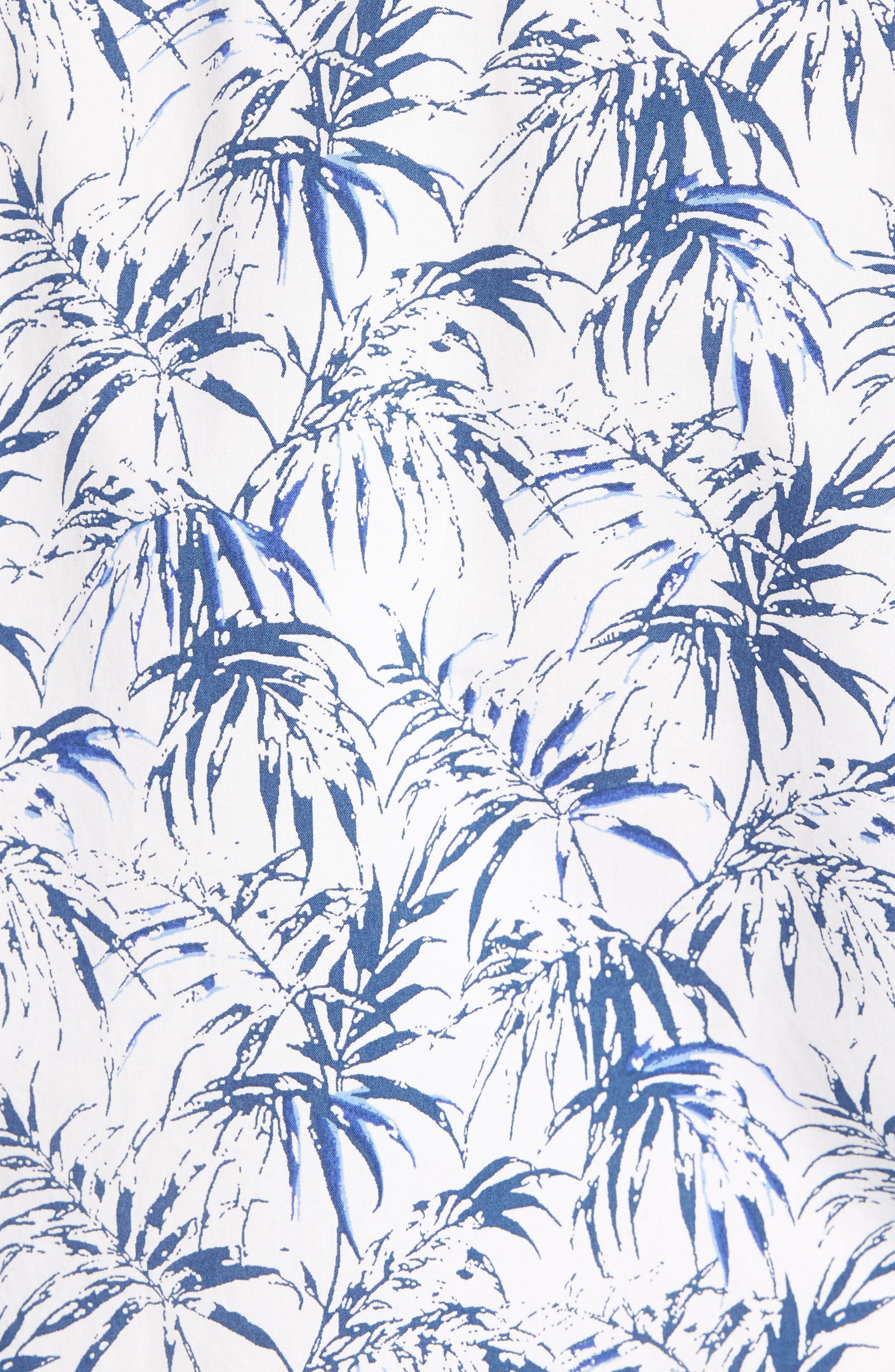 Trim Fit Palm Print Camp Shirt,                             Alternate thumbnail 5, color,                             White Navy Stamped Palms