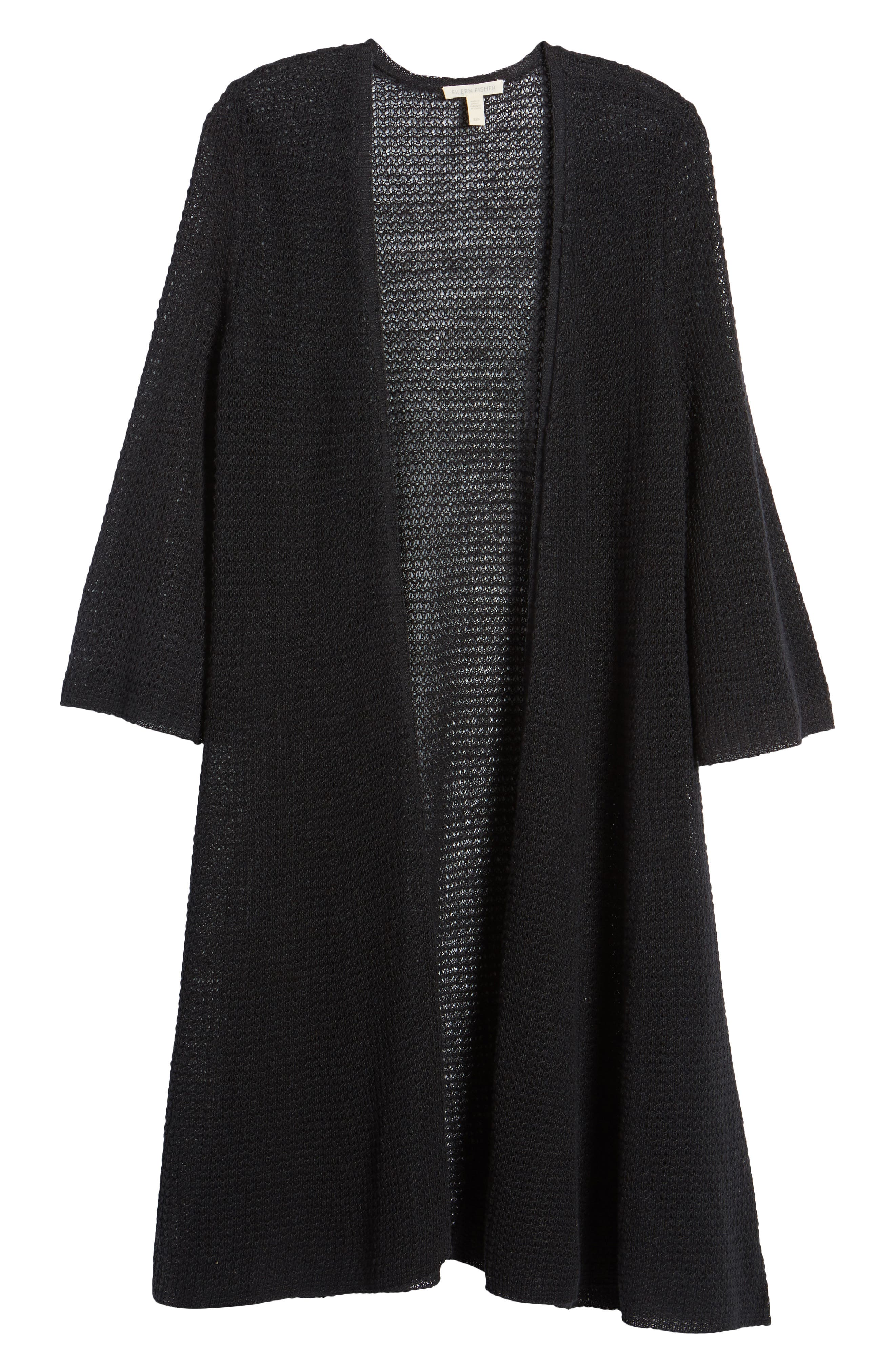 Long Organic Linen Cardigan,                             Alternate thumbnail 7, color,                             Black