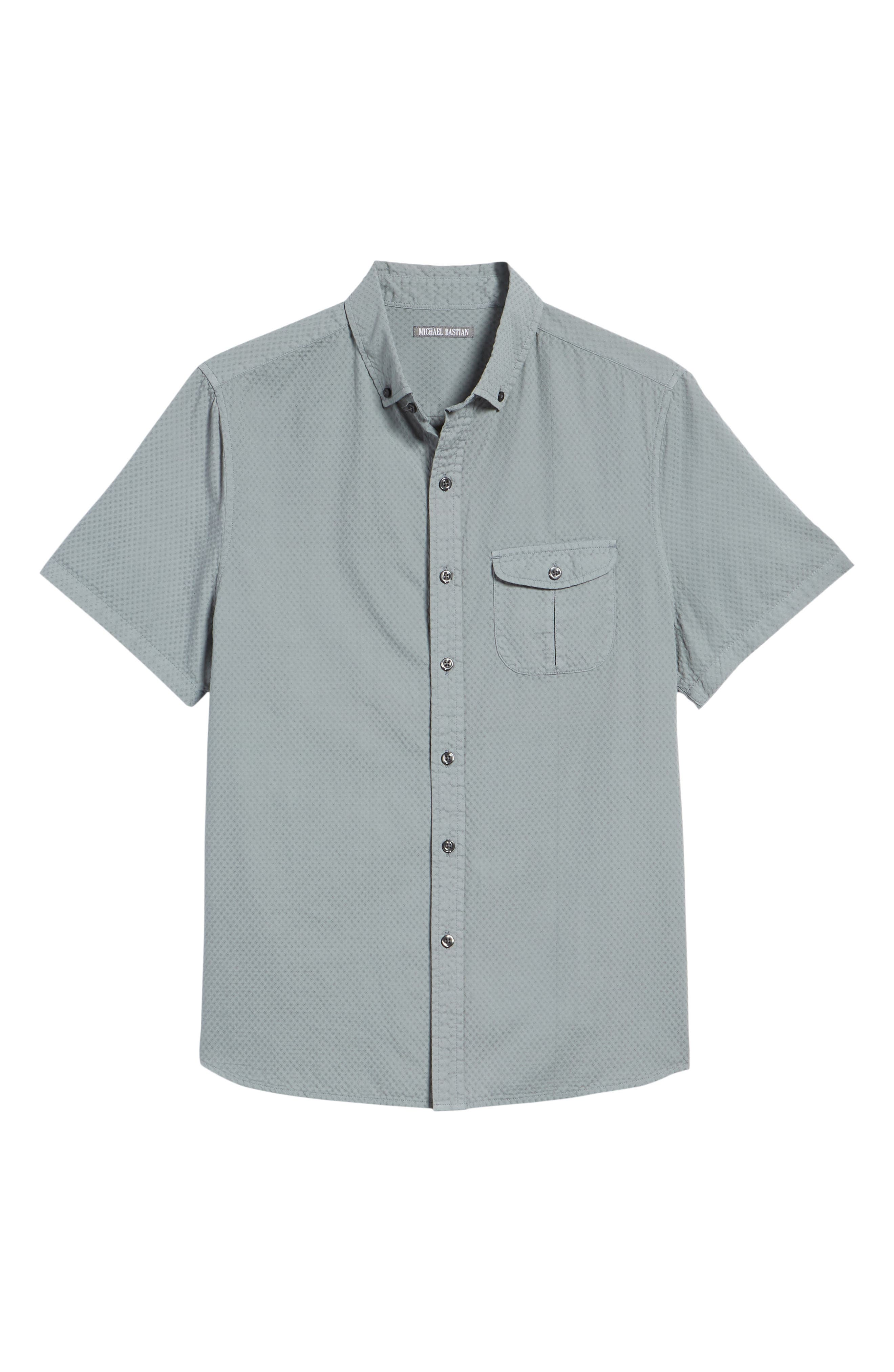 Slim Fit Garment Dyed Sport Shirt,                             Alternate thumbnail 6, color,                             True Gray