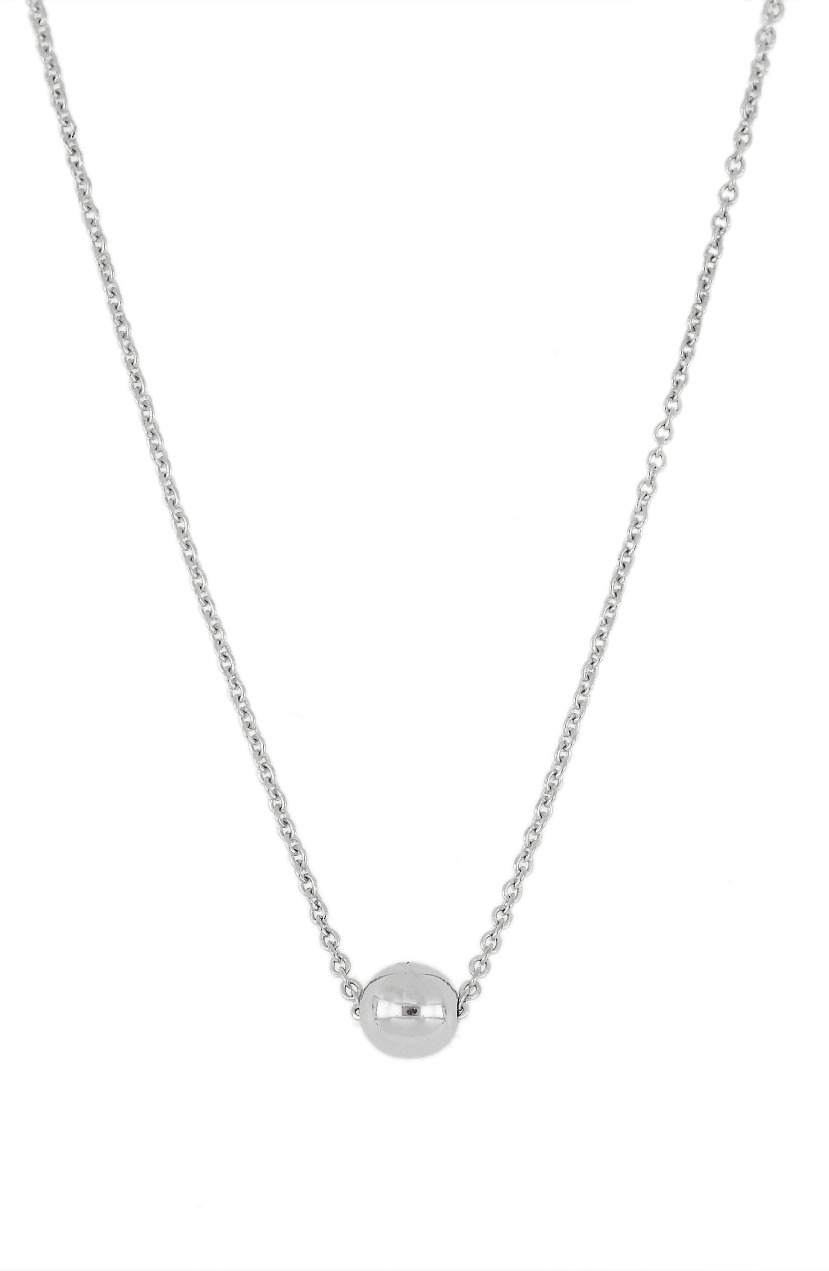 Ball Pendant Necklace,                         Main,                         color, White Gold